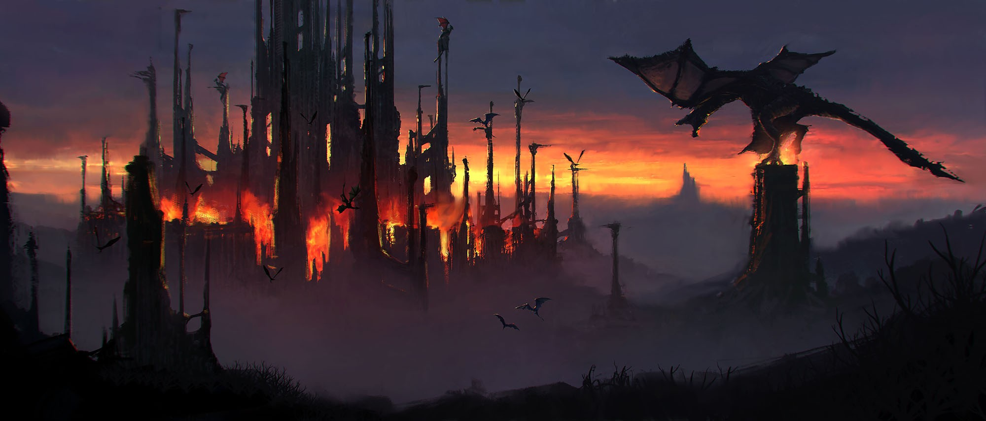 General 2000x855 dragon artwork apocalyptic fantasy art fantasy city fire dark fantasy