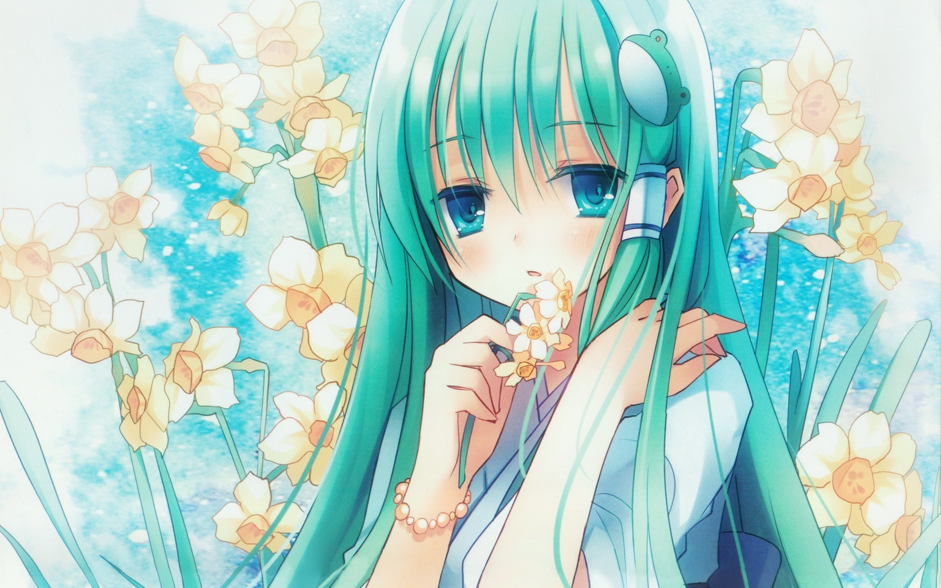 Anime 1920x1200 anime Touhou Kochiya Sanae cyan