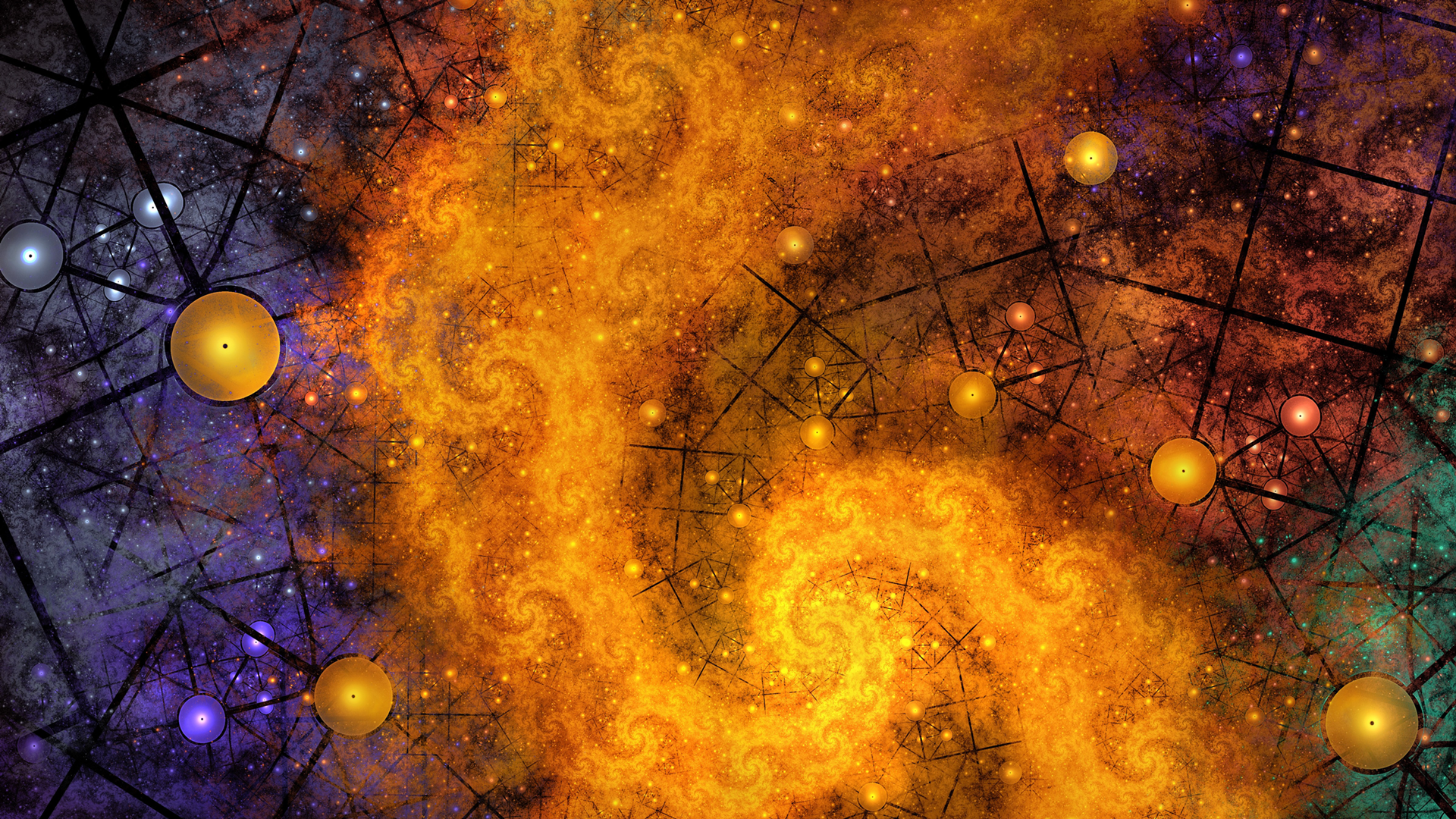 General 1920x1080 abstract digital art spiral colorful lines circle grunge artwork
