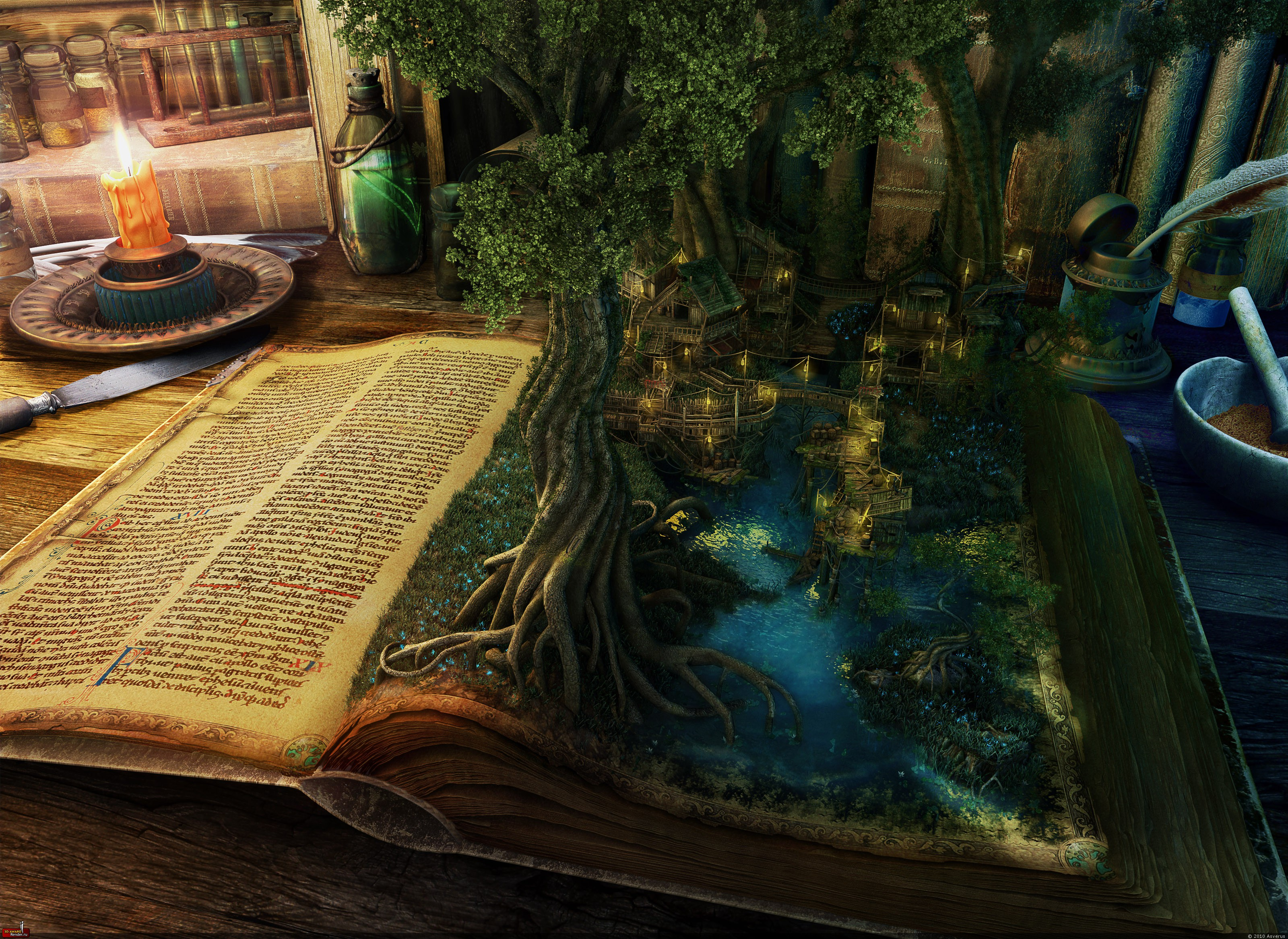 General 3200x2332 books trees digital art fantasy art artwork candles