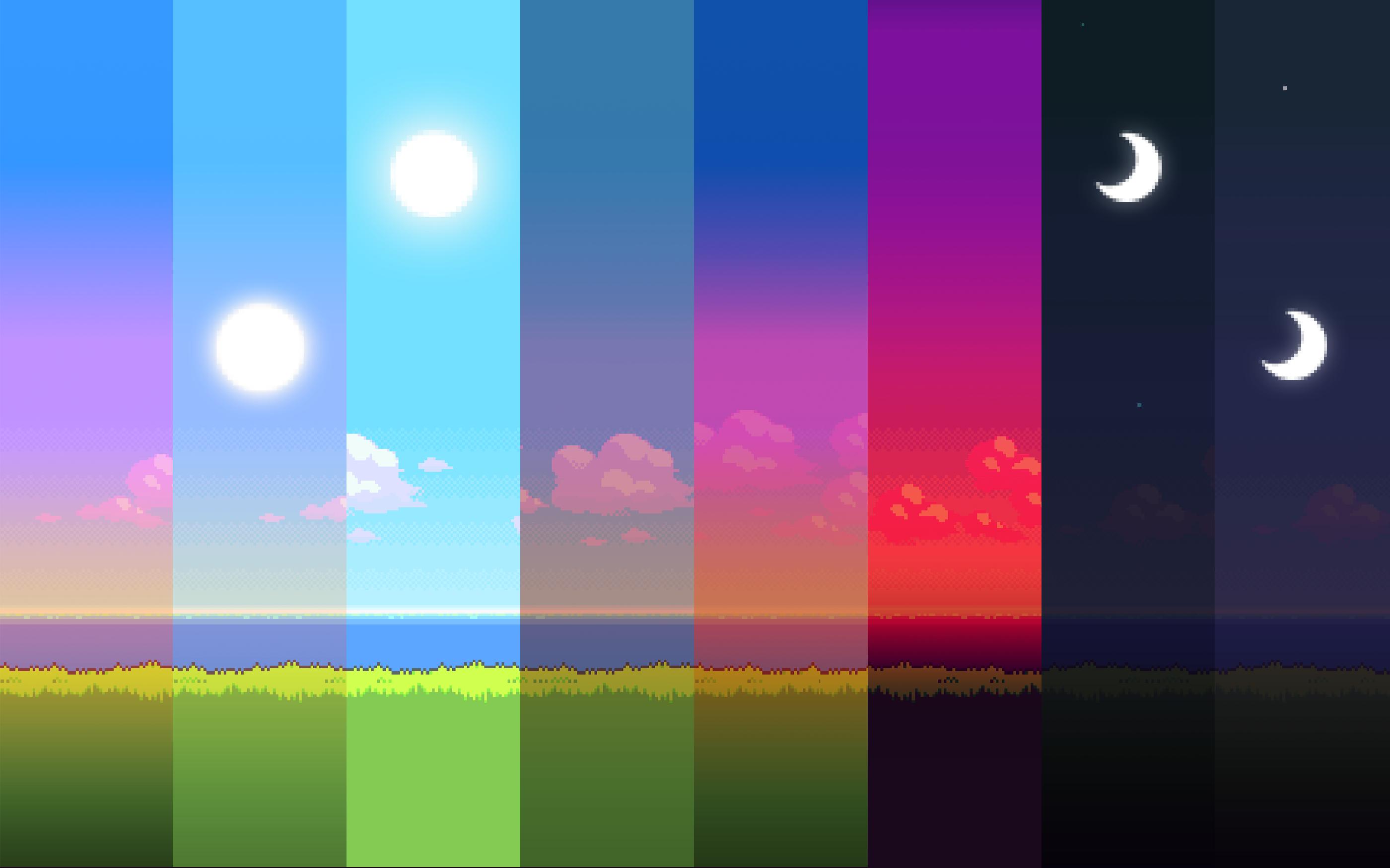 General 2800x1750 spectrum Sun Moon collage digital art colorful pixel art