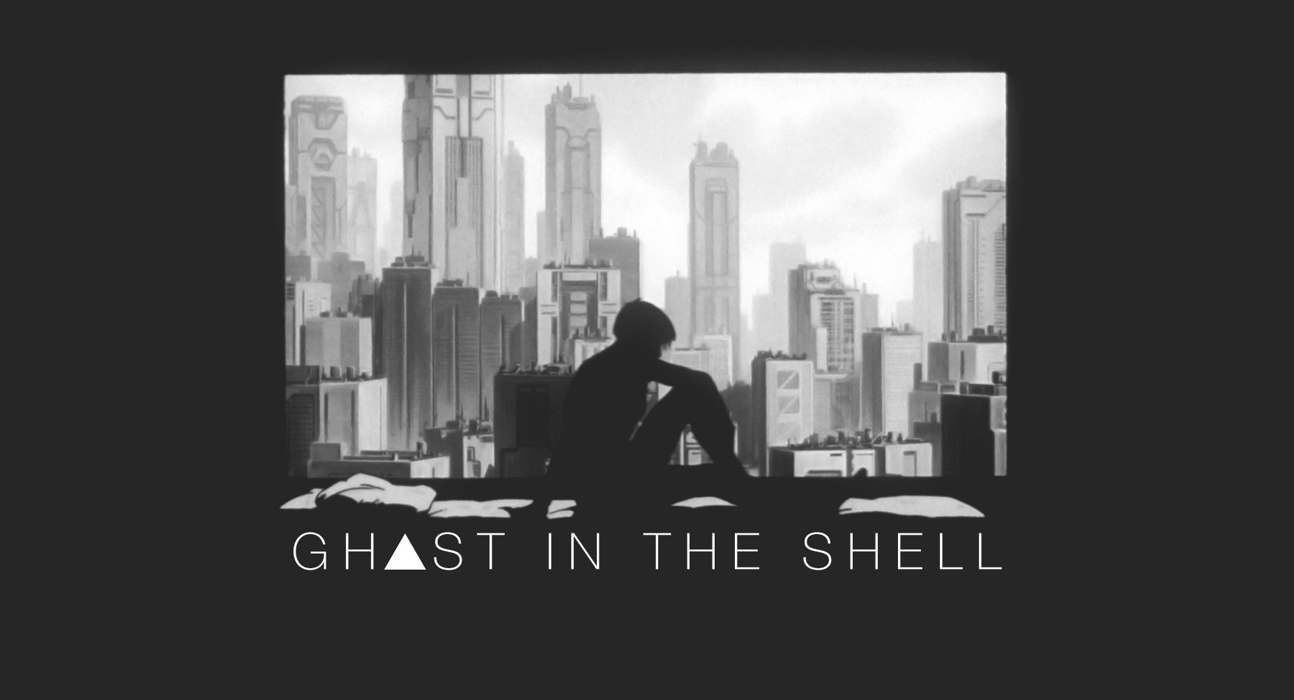 Anime 1856x1004 Ghost in the Shell Kusanagi Motoko minimalism screen shot monochrome silhouette window city cityscape simple background