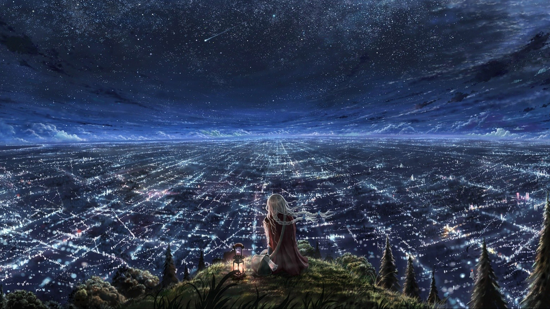 Anime 1920x1080 women starry night animation cityscape city drawing fantasy art anime girls sky lantern stars artwork fantasy girl