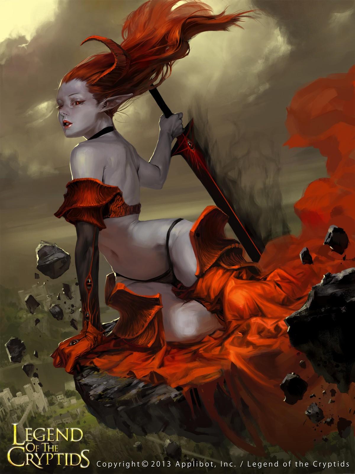 General 1200x1600 Legend of the Cryptids redhead 2013 (Year) horns succubus fantasy girl fantasy art demon girls back belly bikini
