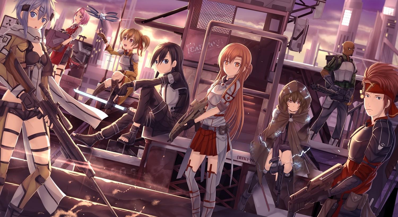 Anime 1500x819 anime anime girls Sword Art Online fan art Asada Shino Kirigaya Kazuto Yuuki Asuna