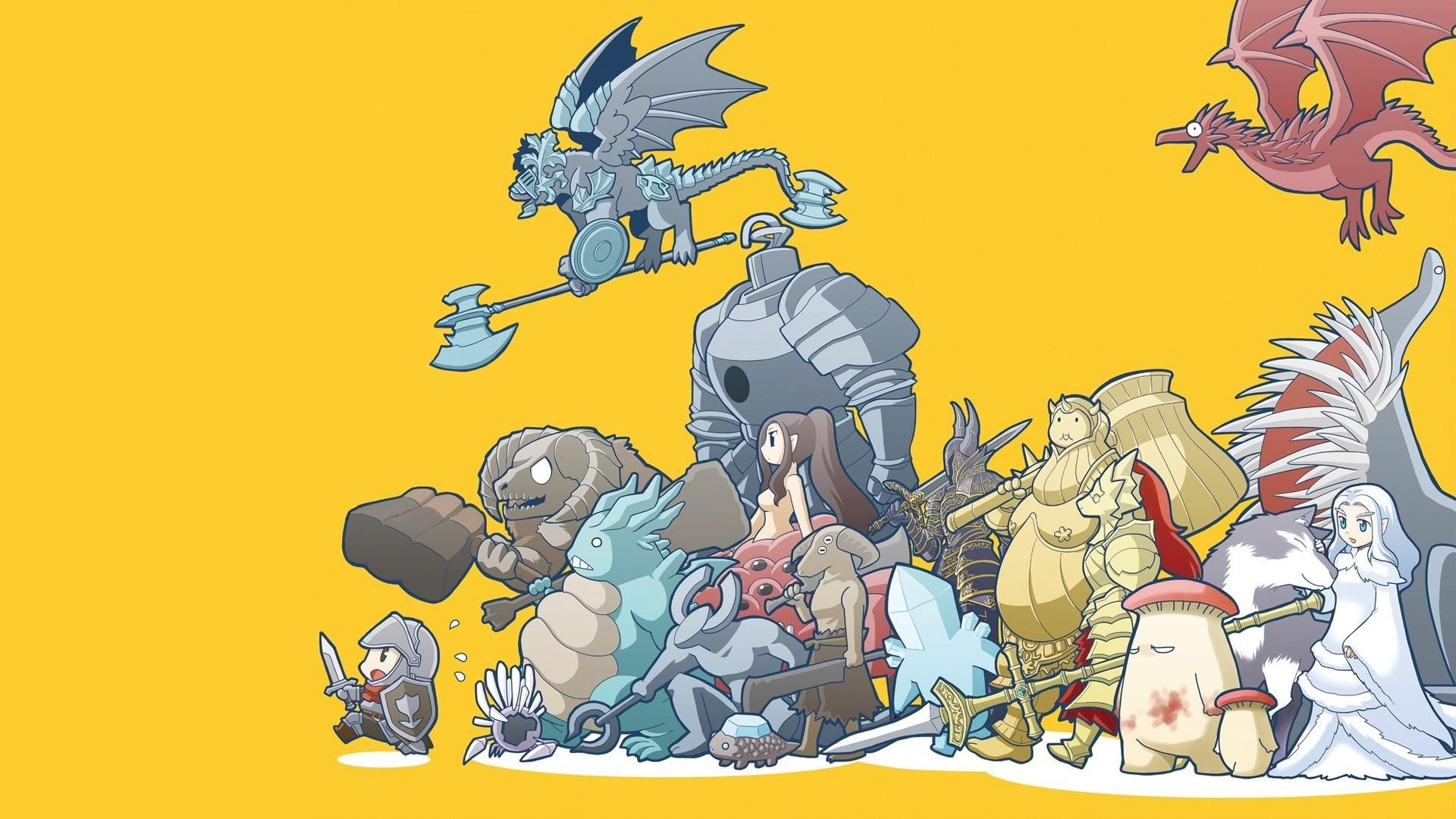 Anime 1920x1080 Dark Souls Capra Demon Sif the Great Grey Wolf Great Grey Wolf Sif Smough ornstein mushroom Dragon Slayer Ornstein video game art