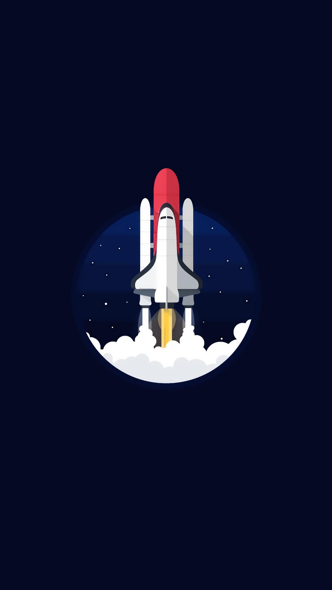 General 1080x1920 digital art portrait display rocket spaceship simple background minimalism blue background space shuttle