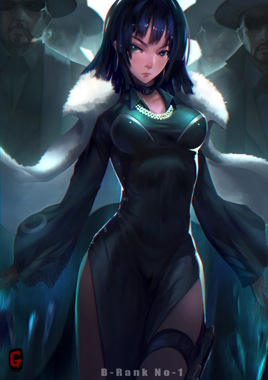 Anime 1100x1560 boobs short hair legs dress violet hair necklace pearl necklace pistol One-Punch Man Fubuki