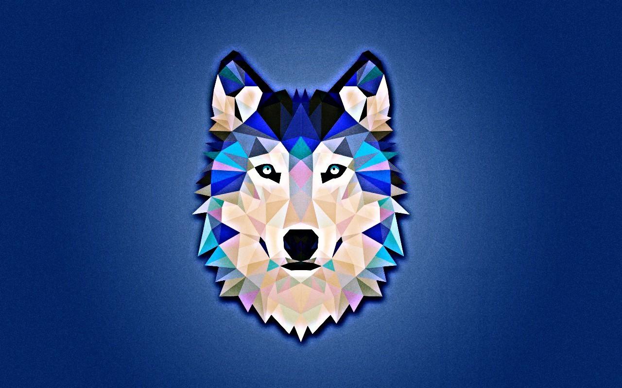 General 1280x800 wolf minimalism blue white