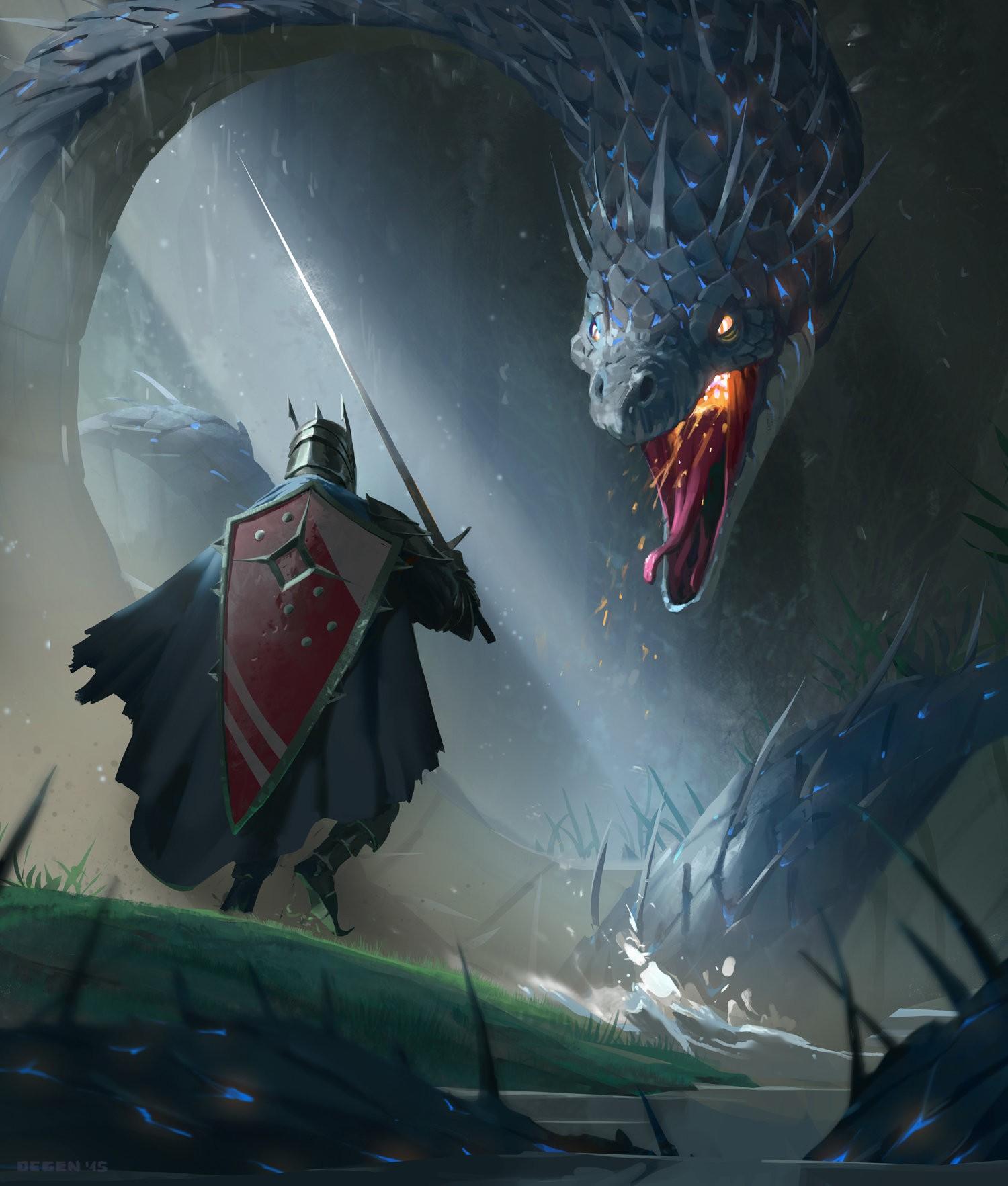 General 1500x1765 fantasy art knight dragon