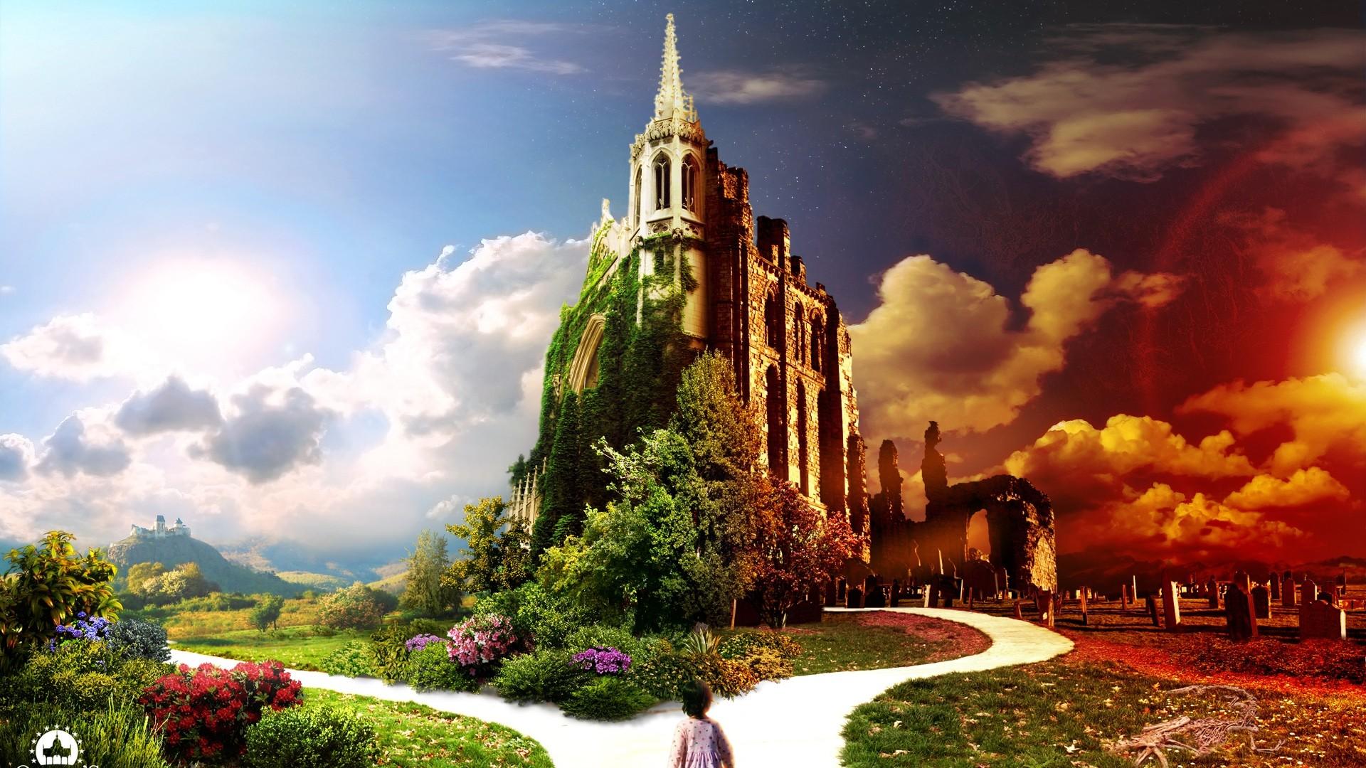 General 1920x1080 landscape digital art fantasy art clouds flowers children