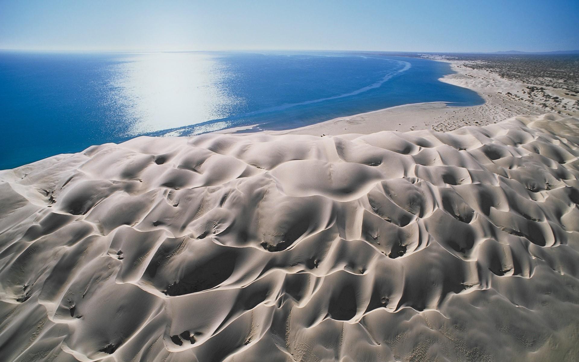 General 1920x1200 landscape beach nature dune sea sand wind erosion water blue Mexico