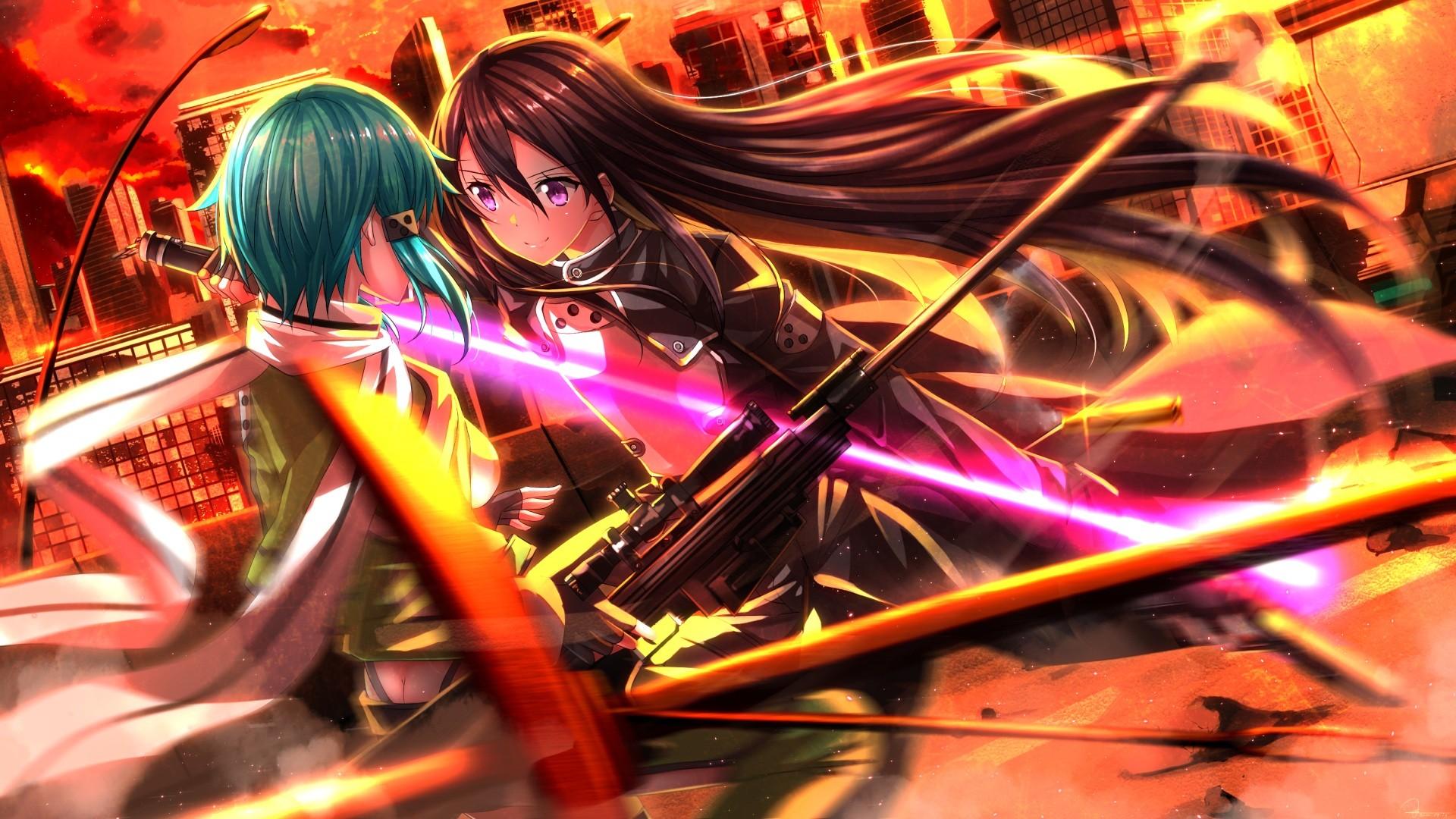 Anime 1920x1080 anime anime girls Swordsouls Sword Art Online Gun Gale Online  Kirigaya Kazuto Asada Shino long hair weapon anime games PC gaming Pixiv sniper rifle aqua hair sword girls with swords brunette