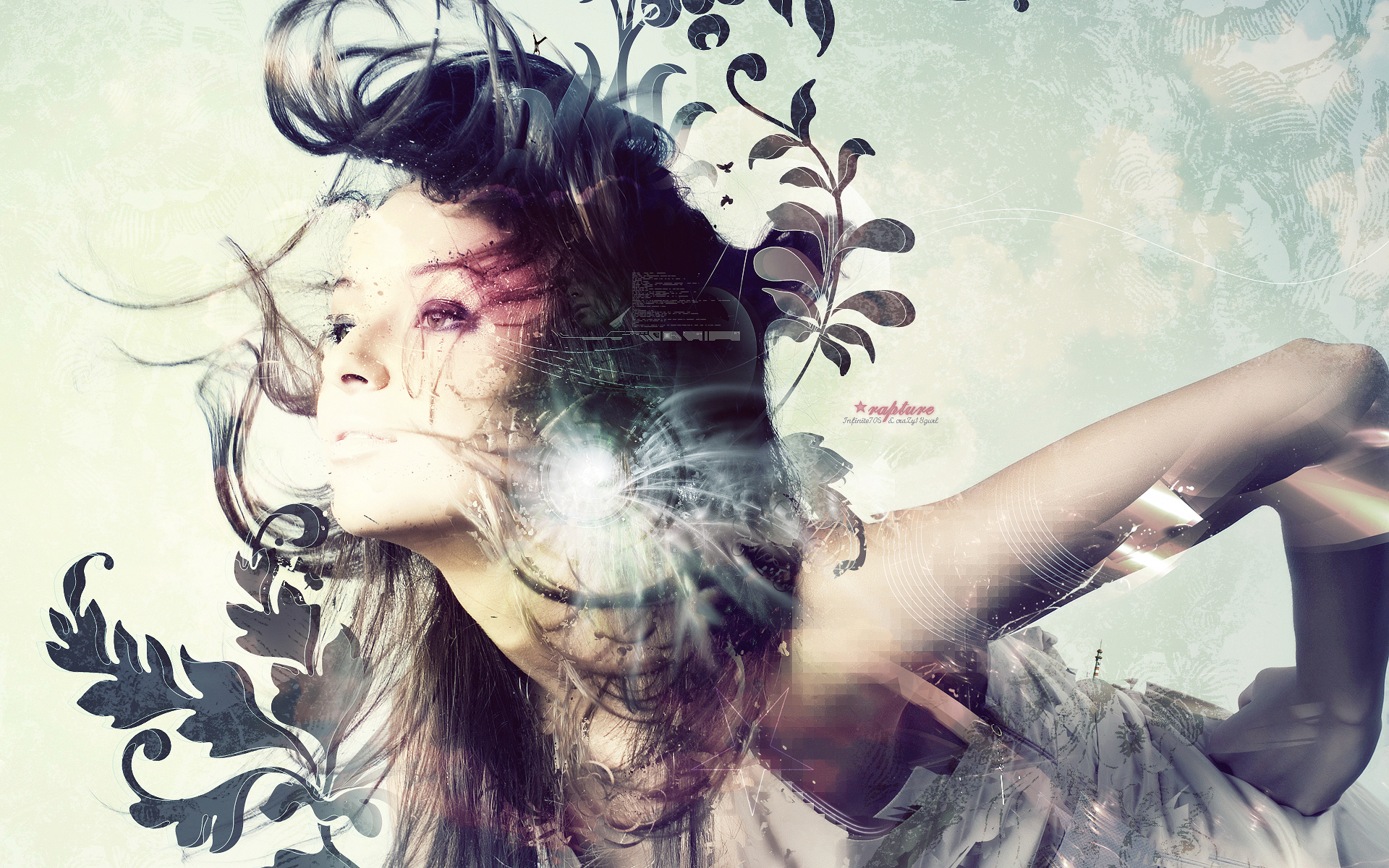 General 1920x1200 women photo manipulation brunette digital art artwork abstract model shapes