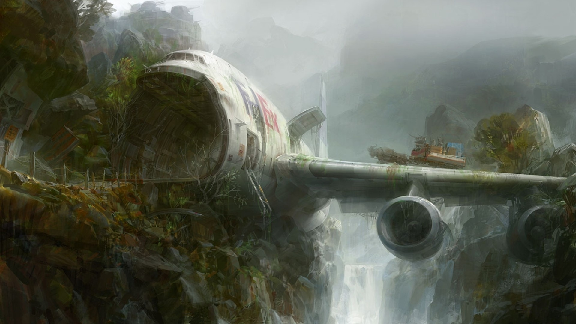 General 1920x1080 dystopian Fedex airplane crash fantasy art aircraft wreck artwork