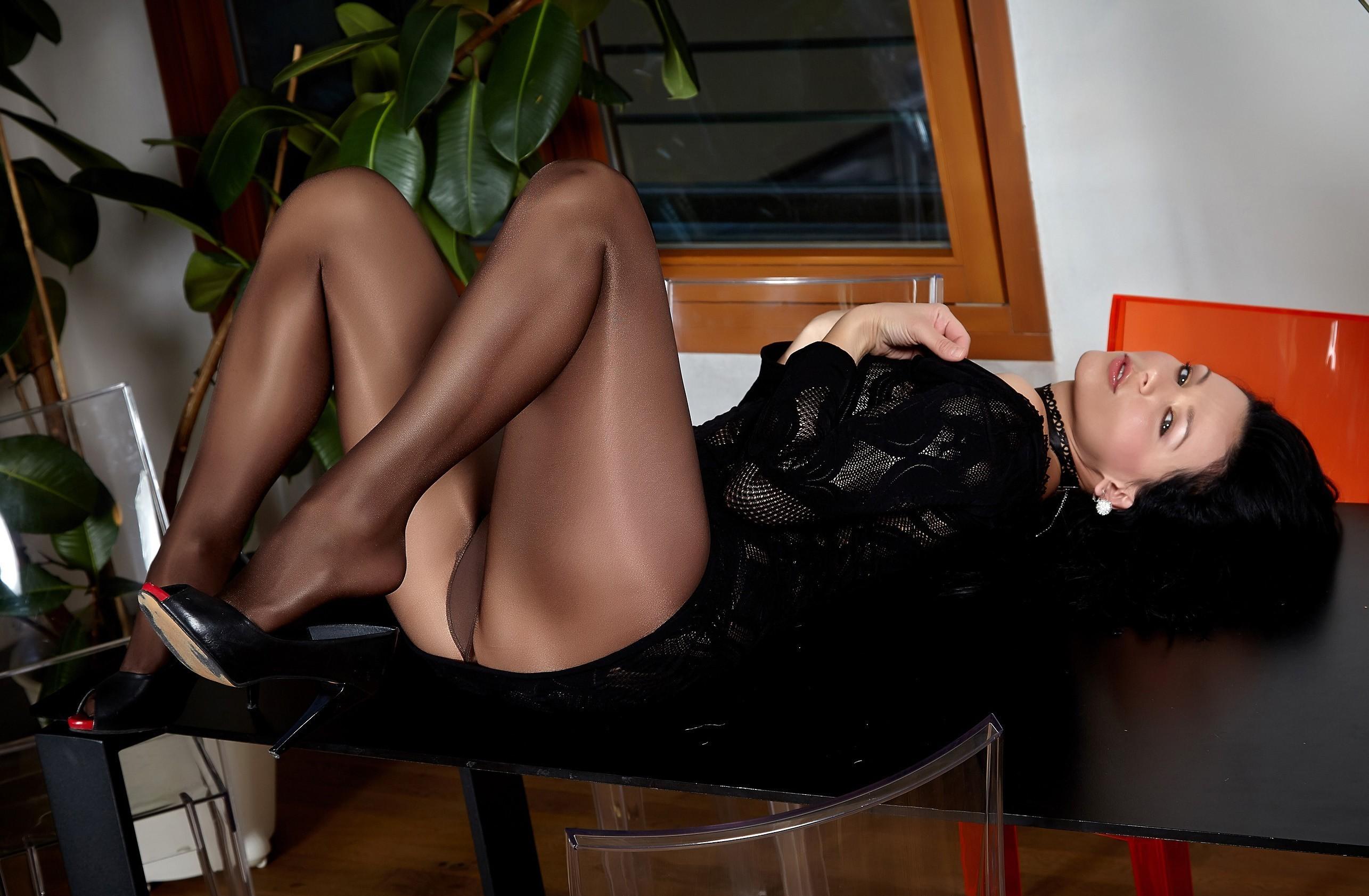 Retro Mature Black Dick Stockings