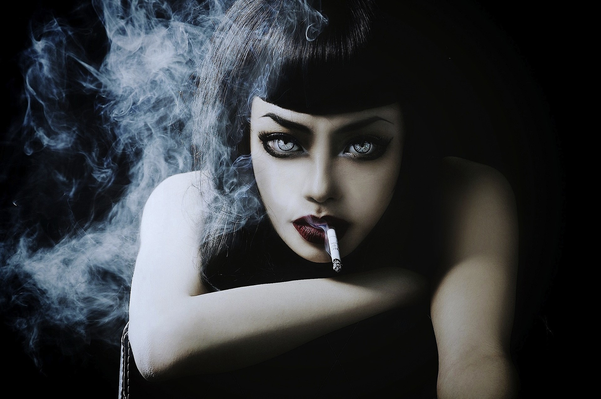 General 1920x1277 model smoking women brunette Caucasian gray eyes cigarettes portrait