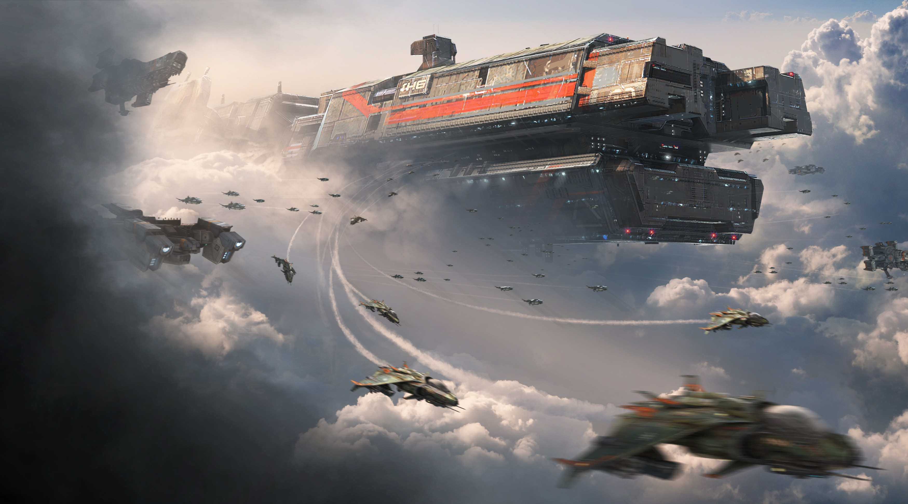 General 3498x1943 fantasy art science fiction digital art futuristic spaceship space universe technology Titanfall sky clouds video games flying aircraft lights artwork