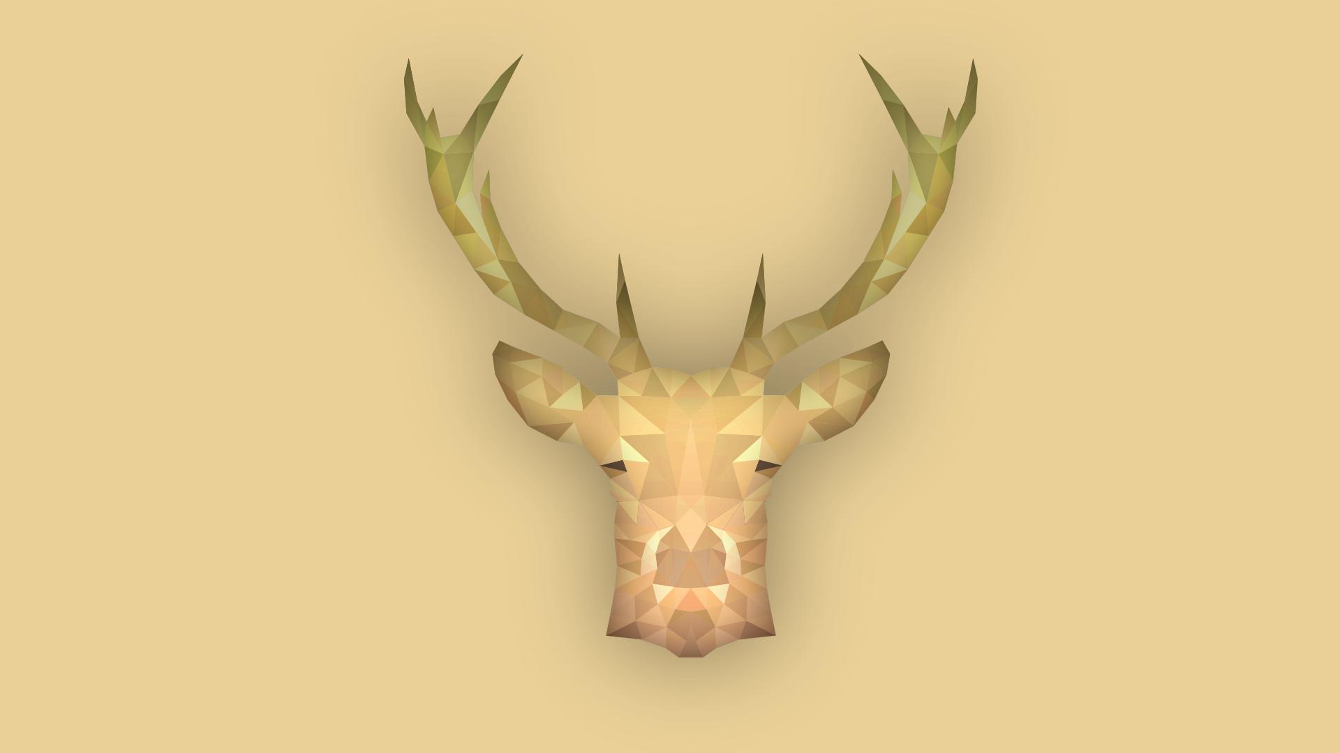 General 1920x1080 animals simple deer stags low poly simple background brown digital art artwork