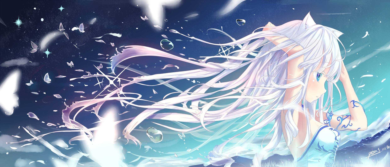 Anime 2480x1062 anime girls Blade & Soul long hair blue eyes animal ears