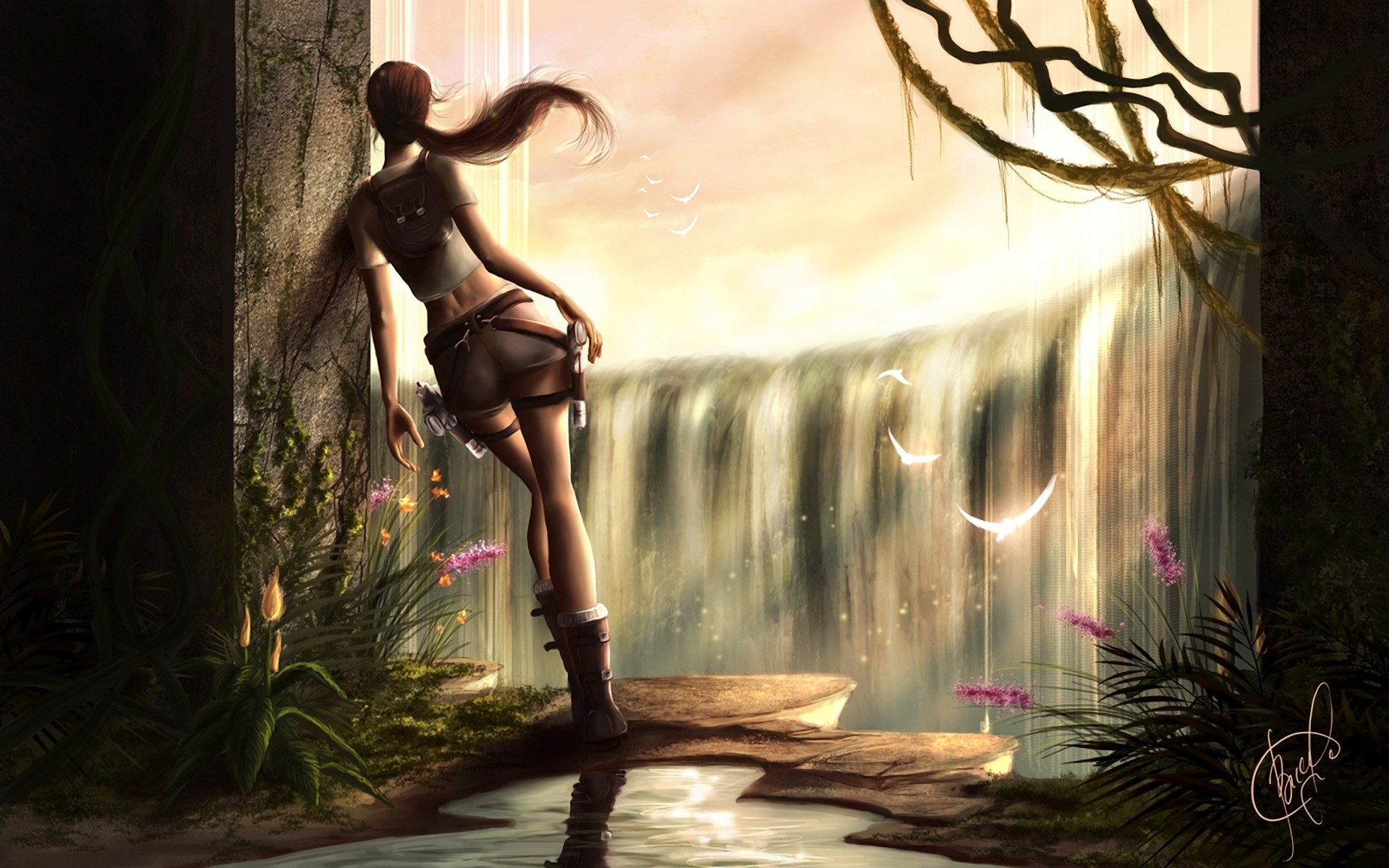General 1920x1200 Tomb Raider Lara Croft skinny legs video games women