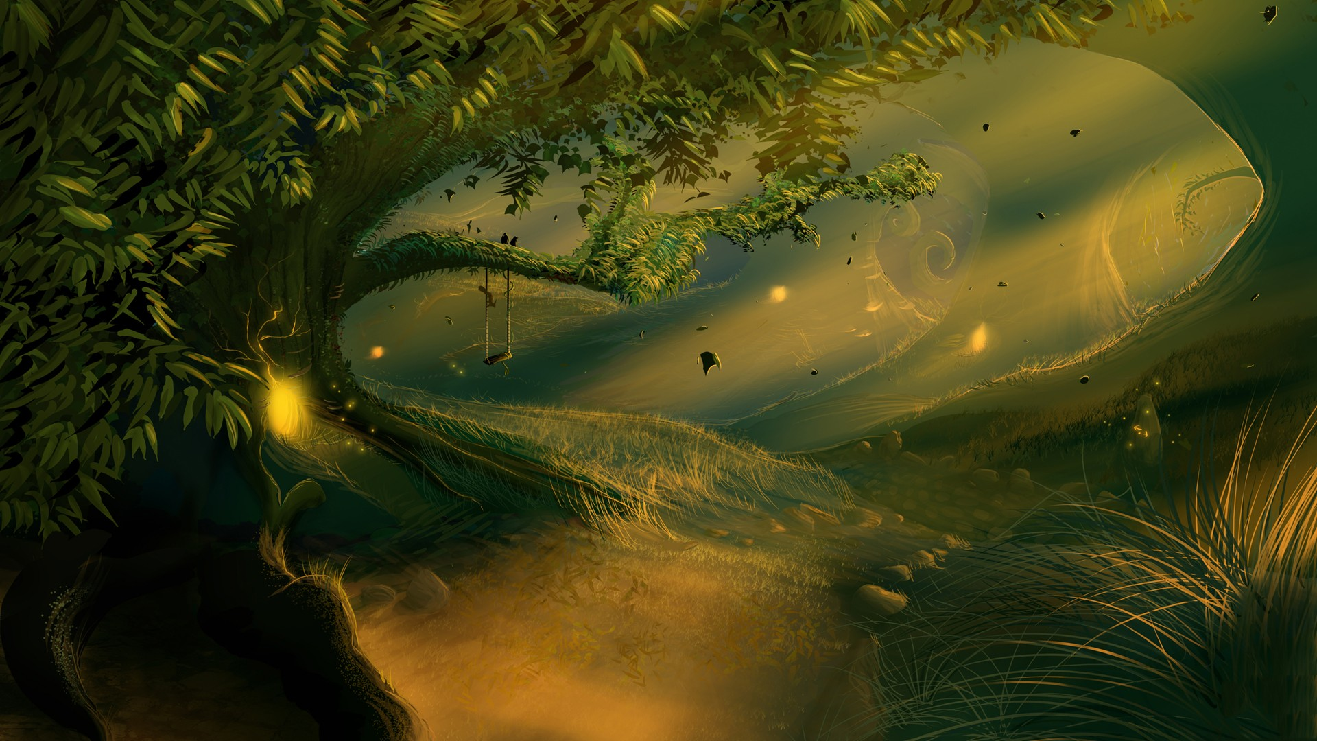 General 1920x1080 forest fantasy art swings sunlight trees