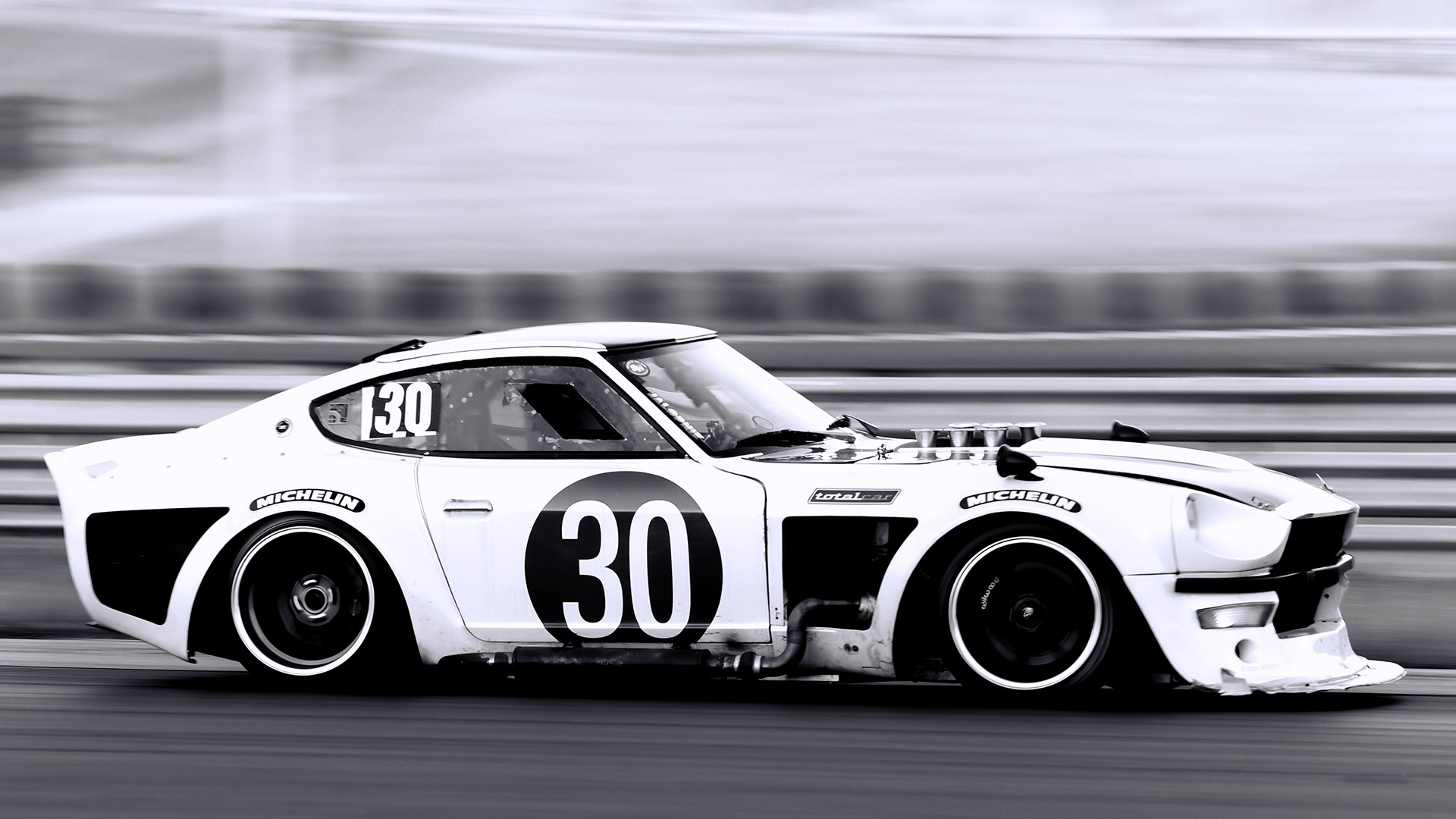 General 1920x1080 car vehicle monochrome race cars Nissan S30 Datsun Nissan