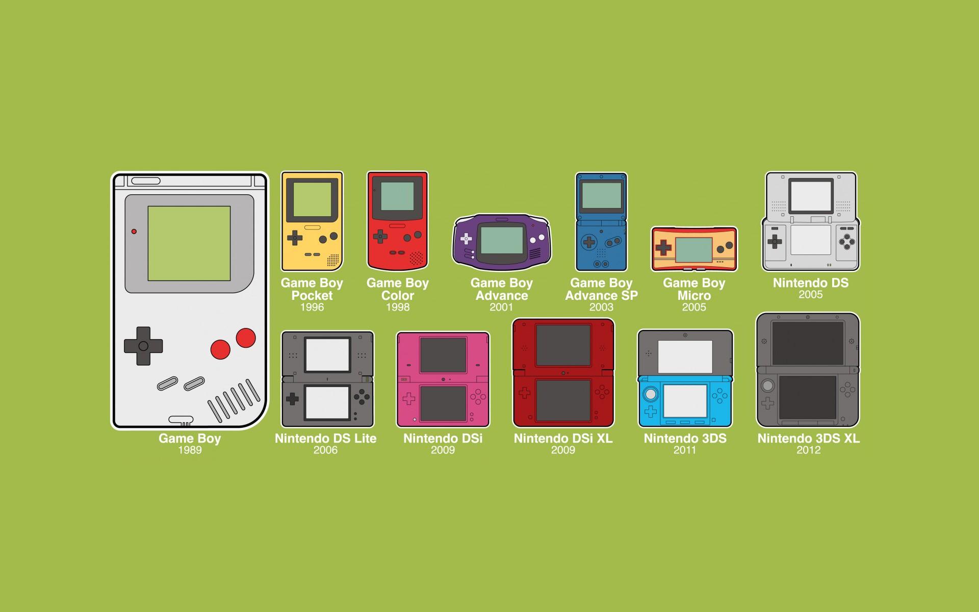 General 1920x1200 GameBoy Nintendo consoles minimalism evolution