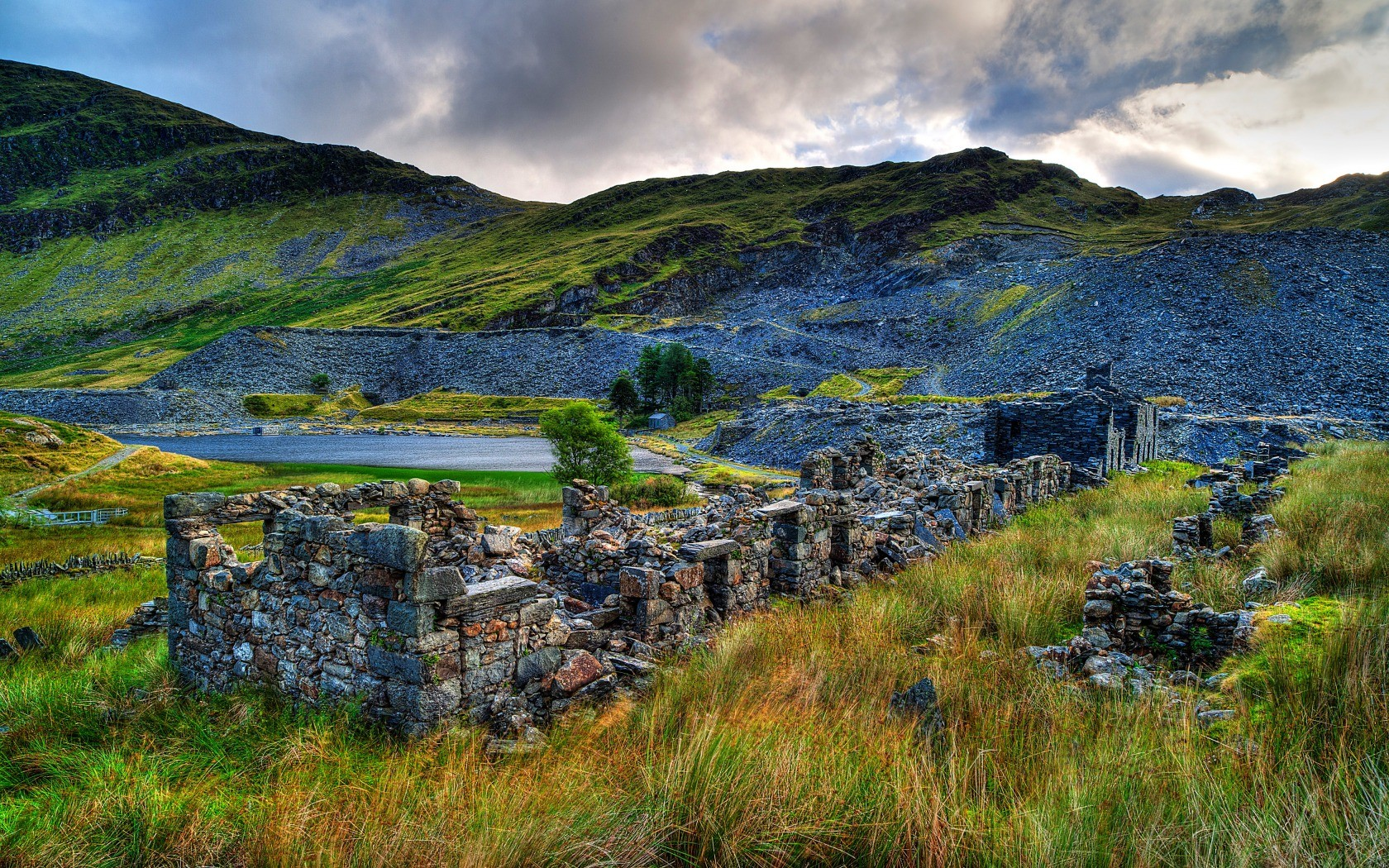 General 1680x1050 nature landscape clouds hills Wales UK castle ruin rock trees mountains grass house lake bricks HDR