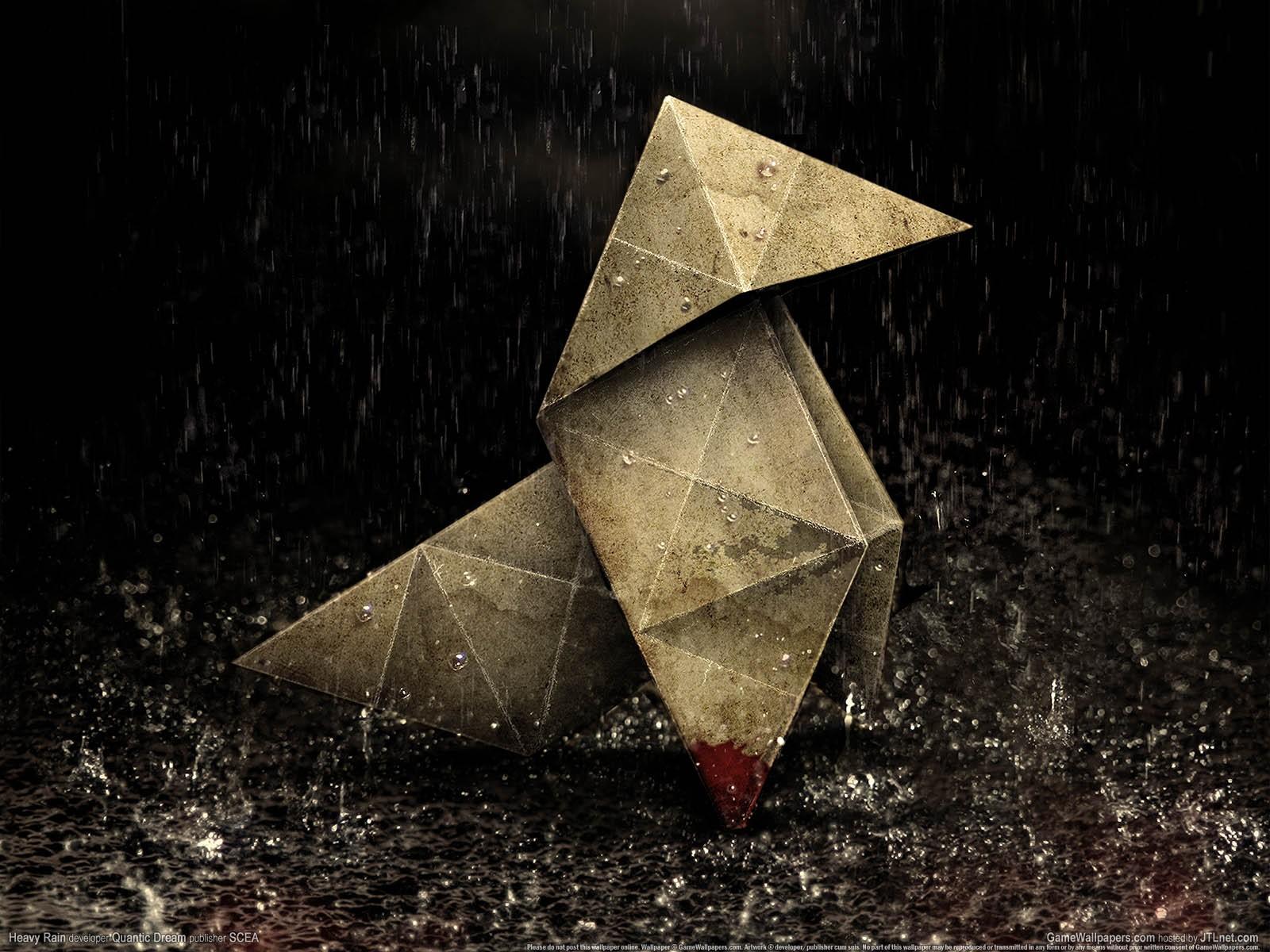 General 1600x1200 origami heavy rain video games blood rain artwork digital art