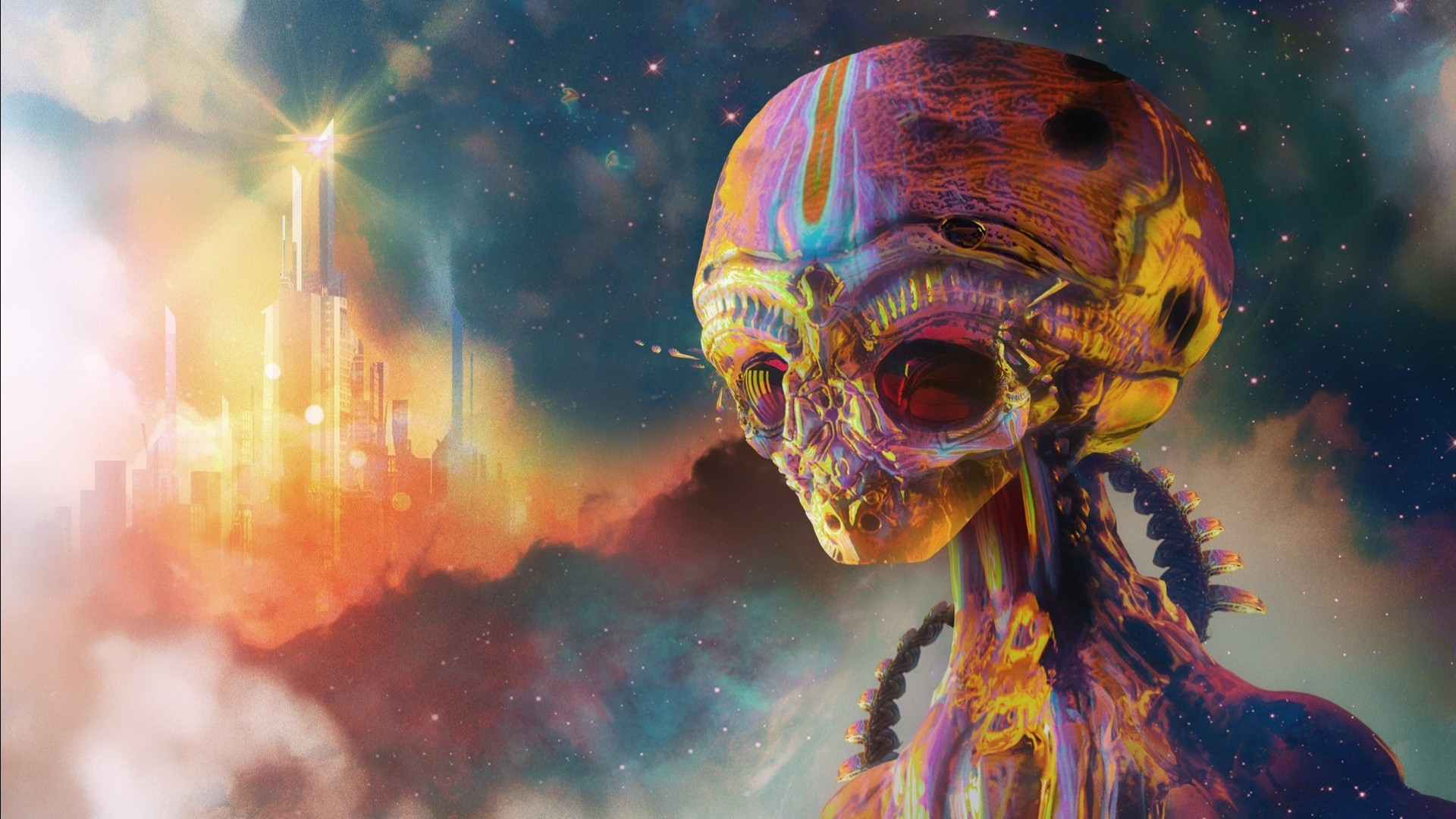 General 1920x1080 artwork digital art aliens psychedelic colorful science fiction