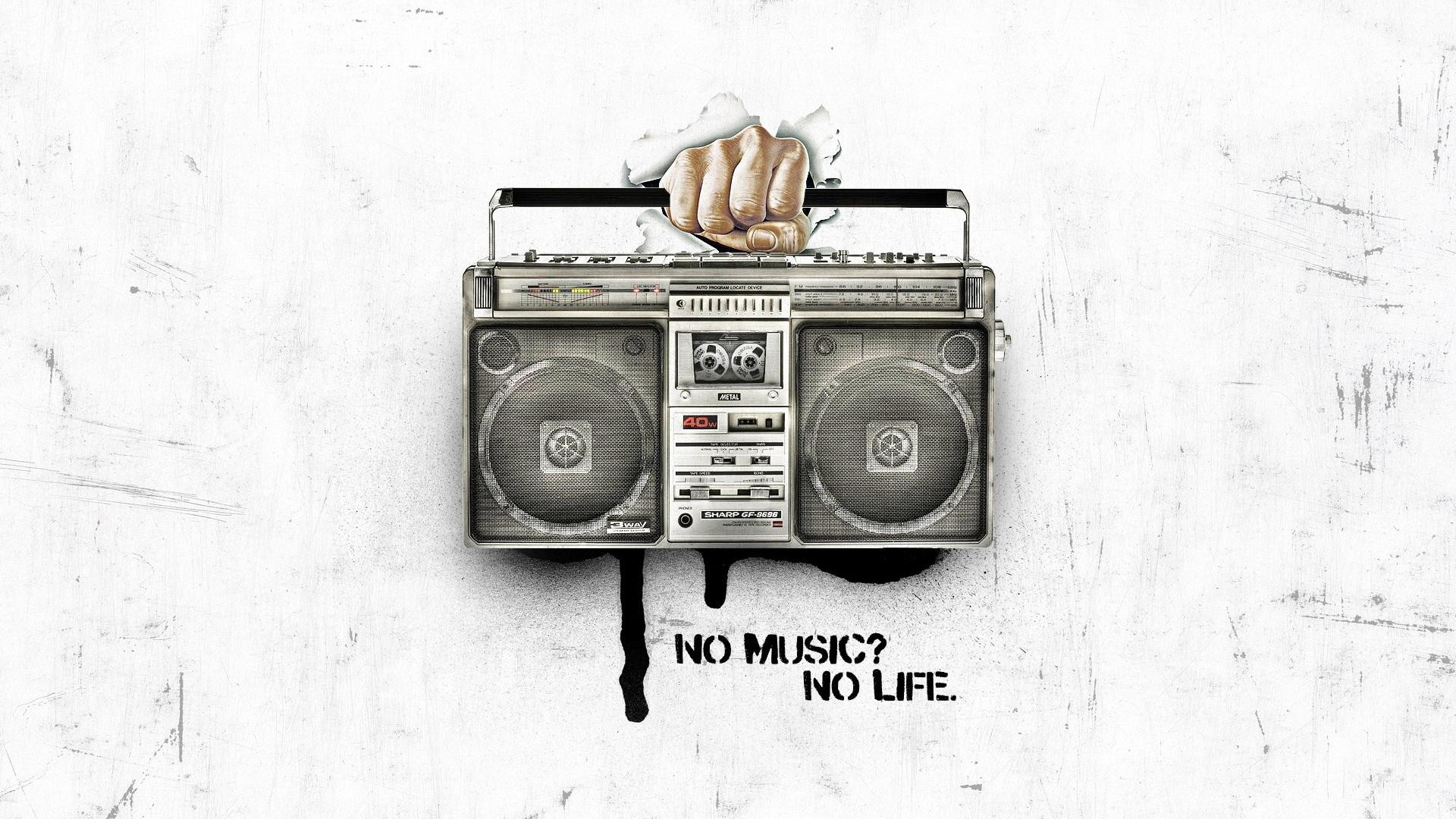 General 1920x1080 music hands life white artwork tape recorder digital art typography simple background white background audio boom box
