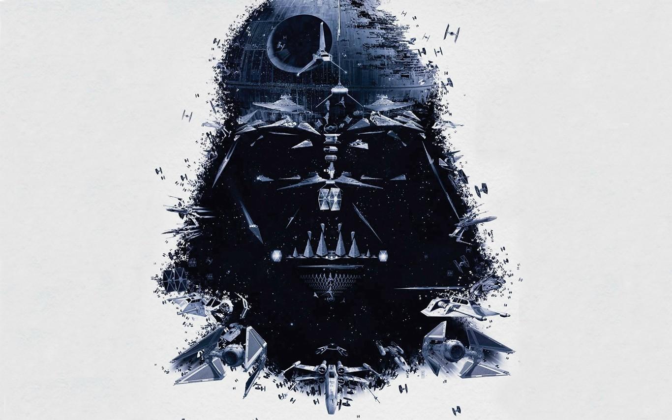 General 1366x854 science fiction simple background X-wing Death Star collage Darth Vader digital art white background TIE Fighter Sith mask Star Destroyer imperial shuttle Star Wars Villains Star Wars Ships Star Wars