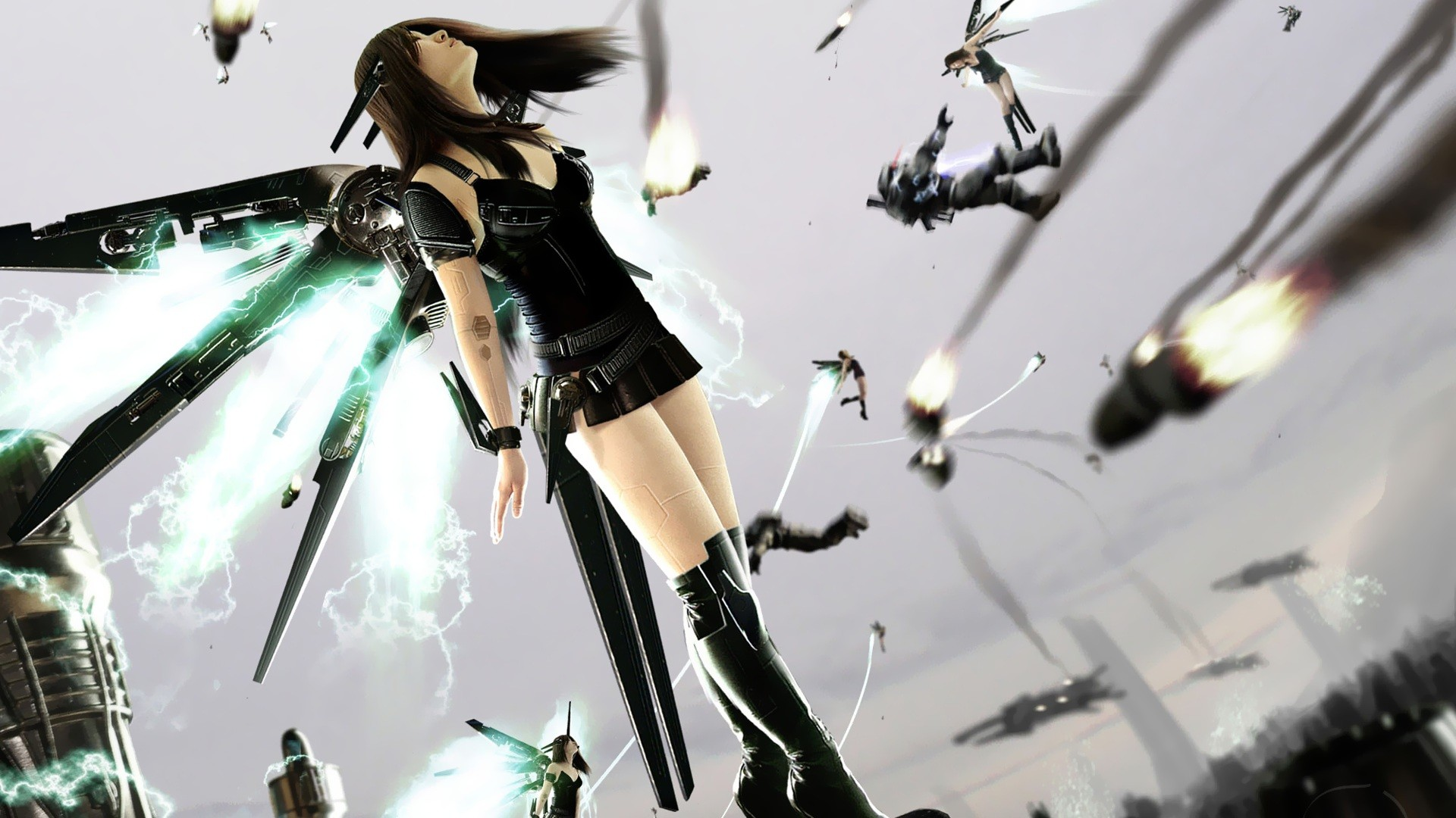 General 1920x1080 technology Hi-Tech flying women cyborg digital art science fiction long hair battle science fiction women futuristic legs dark hair standing machine