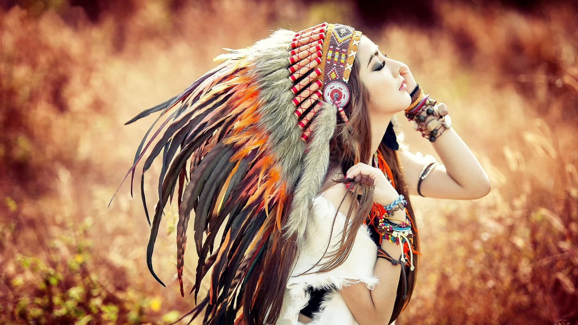People 1920x1080 brunette headdress Asian feathers closed eyes makeup nature plants women women outdoors face