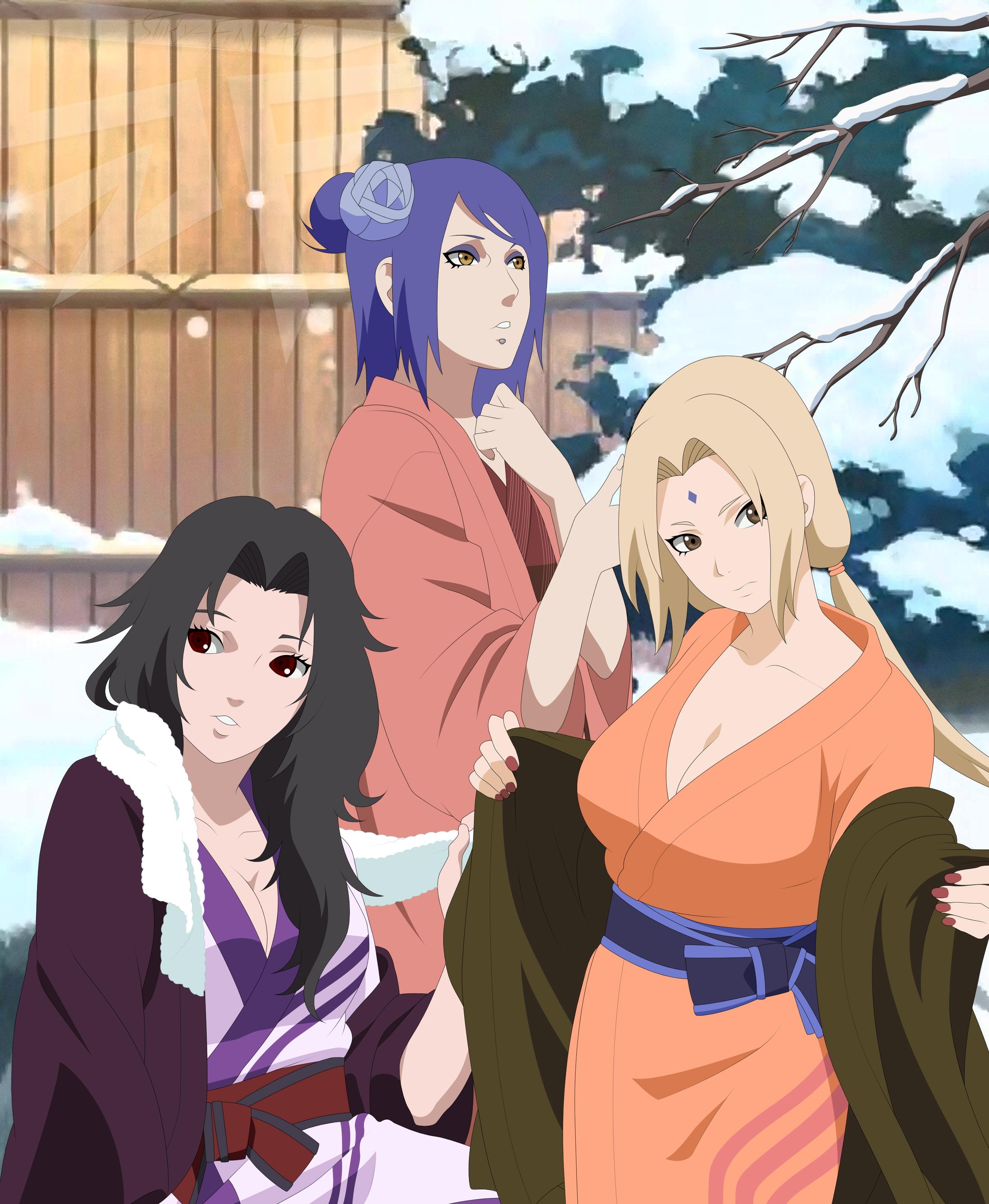 Anime 2640x3213 Naruto Shippuuden anime girls Tsunade Yuhi Kurenai Konan black hair blonde blue hair women trio purple hair winter snow