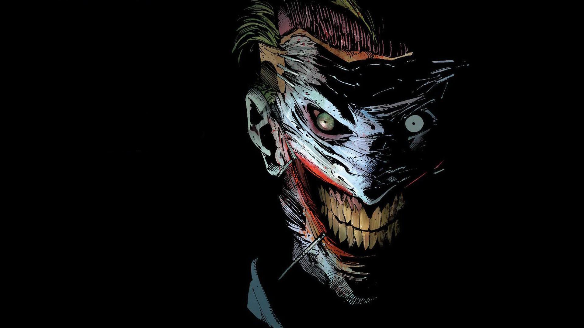 General 1920x1080 Joker scars DC Comics mask comic books black background artwork comics comic art Batman simple background teeth