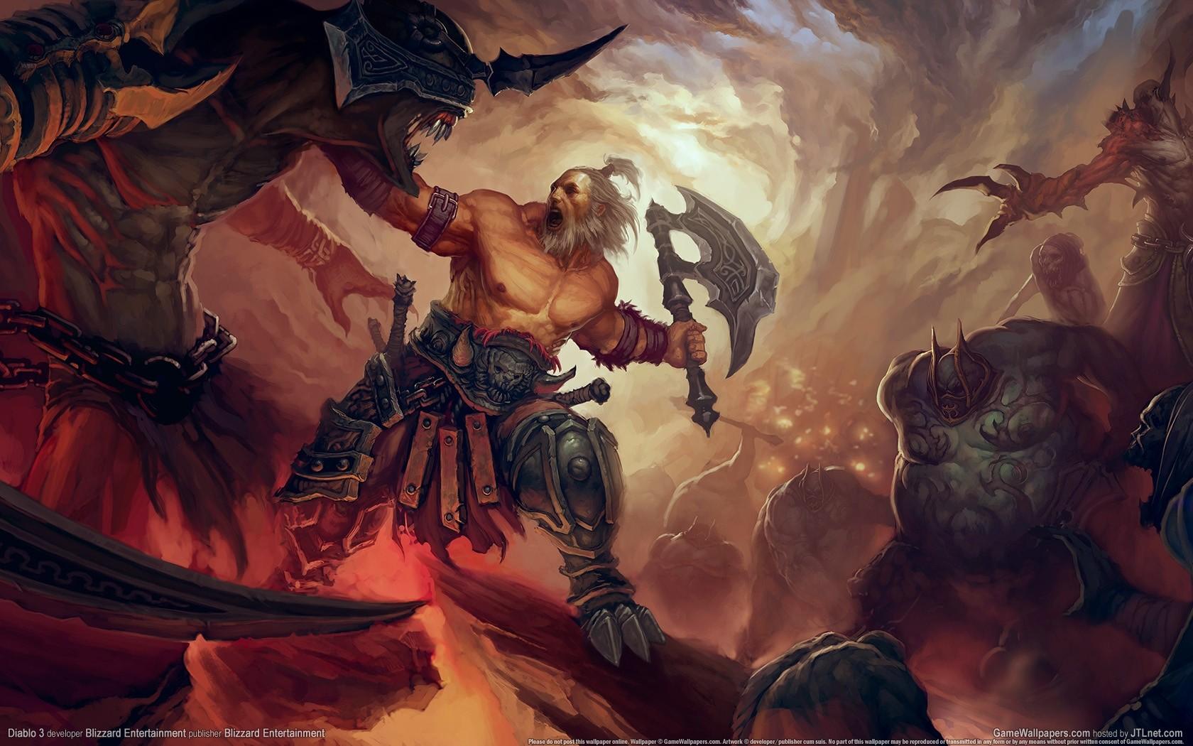 General 1680x1050 Diablo III Diablo video games warrior video game man Blizzard Entertainment video game art PC gaming fantasy art axes demon creature