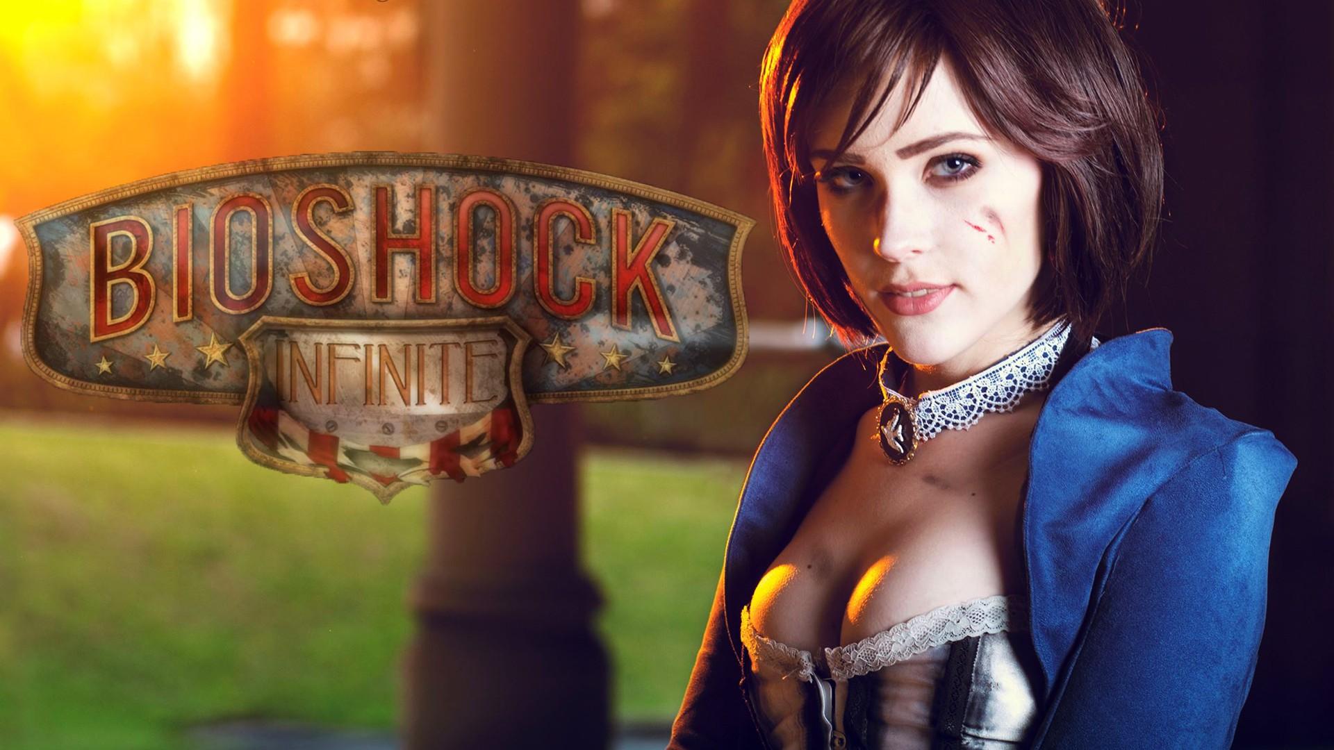 People 1920x1080 Elizabeth (BioShock) video games women boobs necklace makeup video game girls brunette model looking at viewer