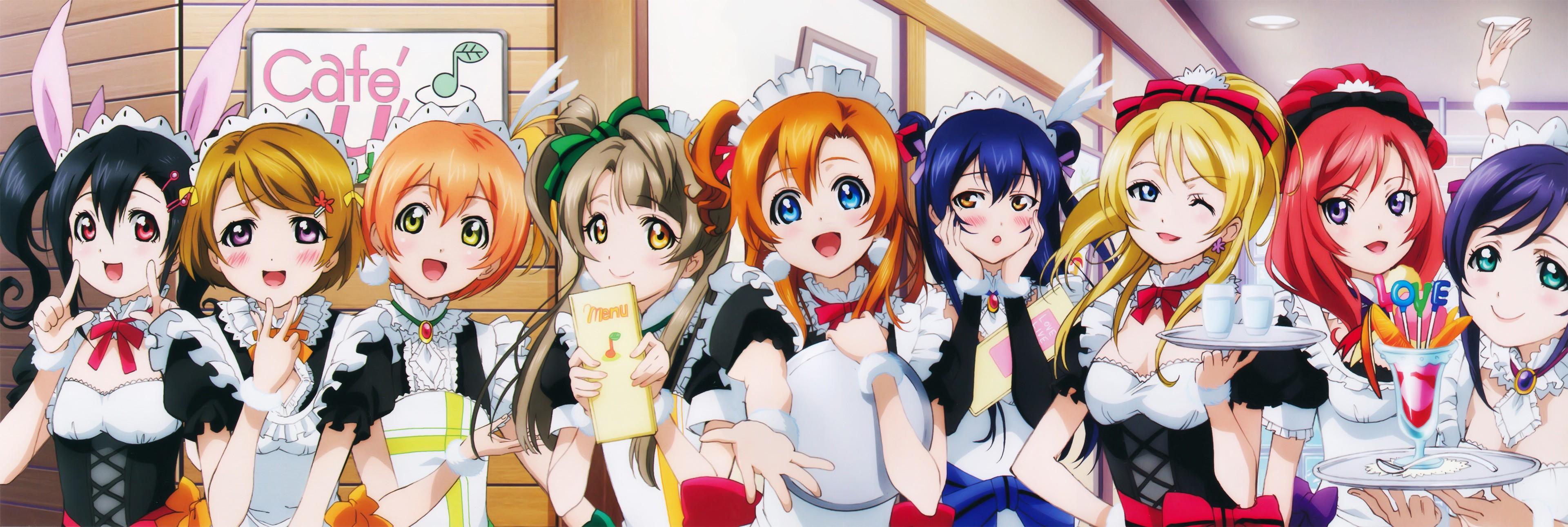 Anime 3840x1292 anime girls anime Love Live! Ayase Eri Hoshizora Rin Koizumi Hanayo Kousaka Honoka Minami Kotori Nishikino Maki Sonoda Umi Toujou Nozomi Yazawa Nico maid maid outfit group of women multiple display