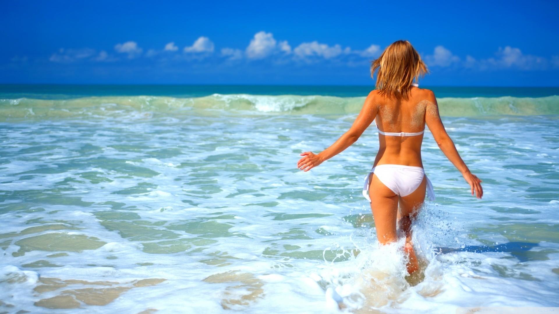 People 1920x1080 women women on beach blonde in water summer white bikini back tanned sand covered