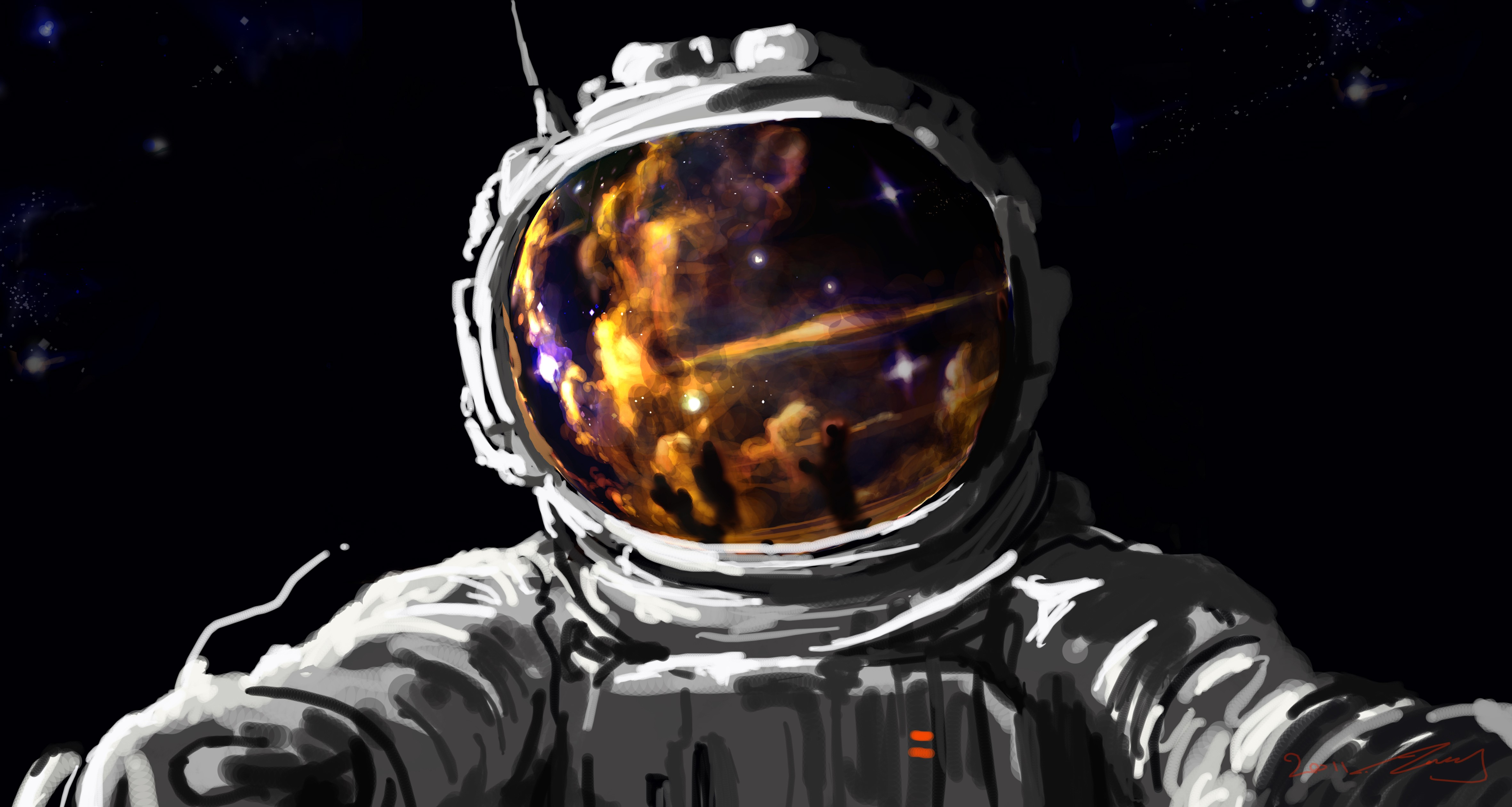 General 4724x2521 artwork fantasy art concept art space astronaut spacesuit stars digital art painting