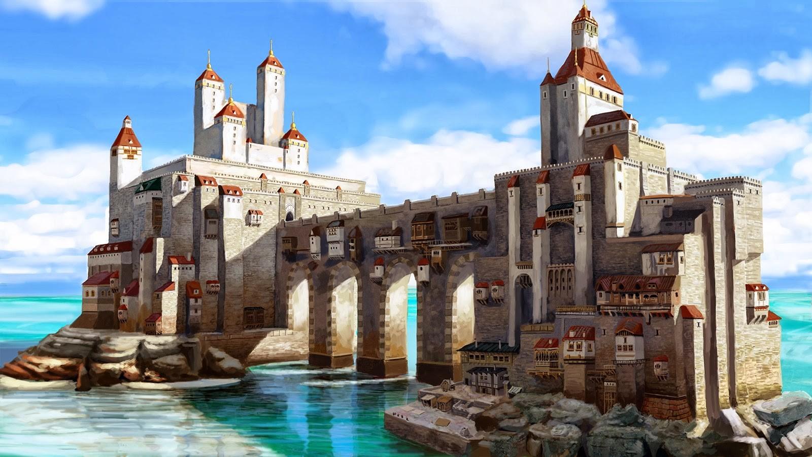General 1600x900 castle medieval DeviantArt fantasy art
