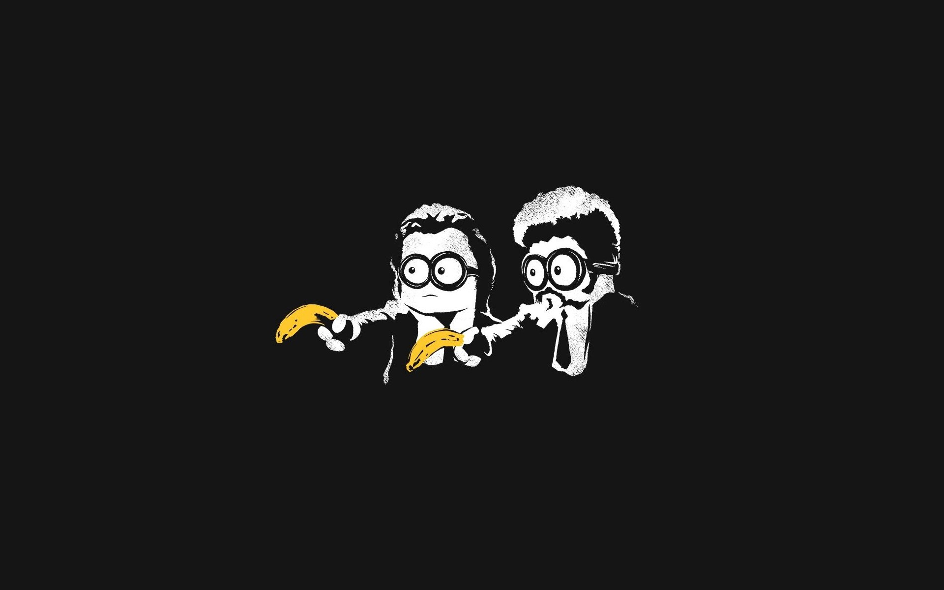 General 1920x1200 minimalism black minions Pulp Fiction bananas Pulp Fiction (parody) parody mix up movies fictional simple background black background