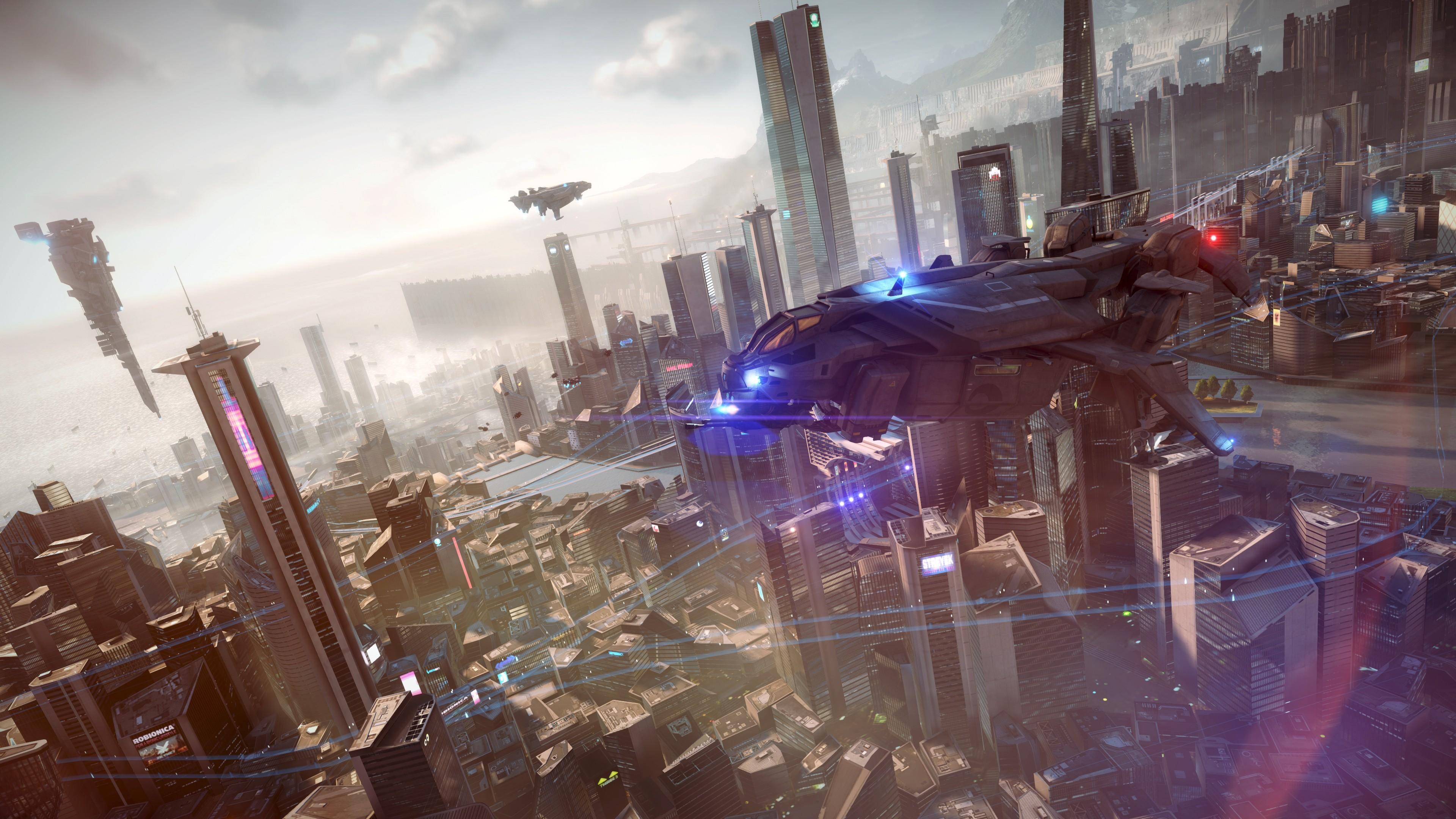 General 3840x2160 artwork digital art spaceship city futuristic Killzone: Shadow Fall video games futuristic city