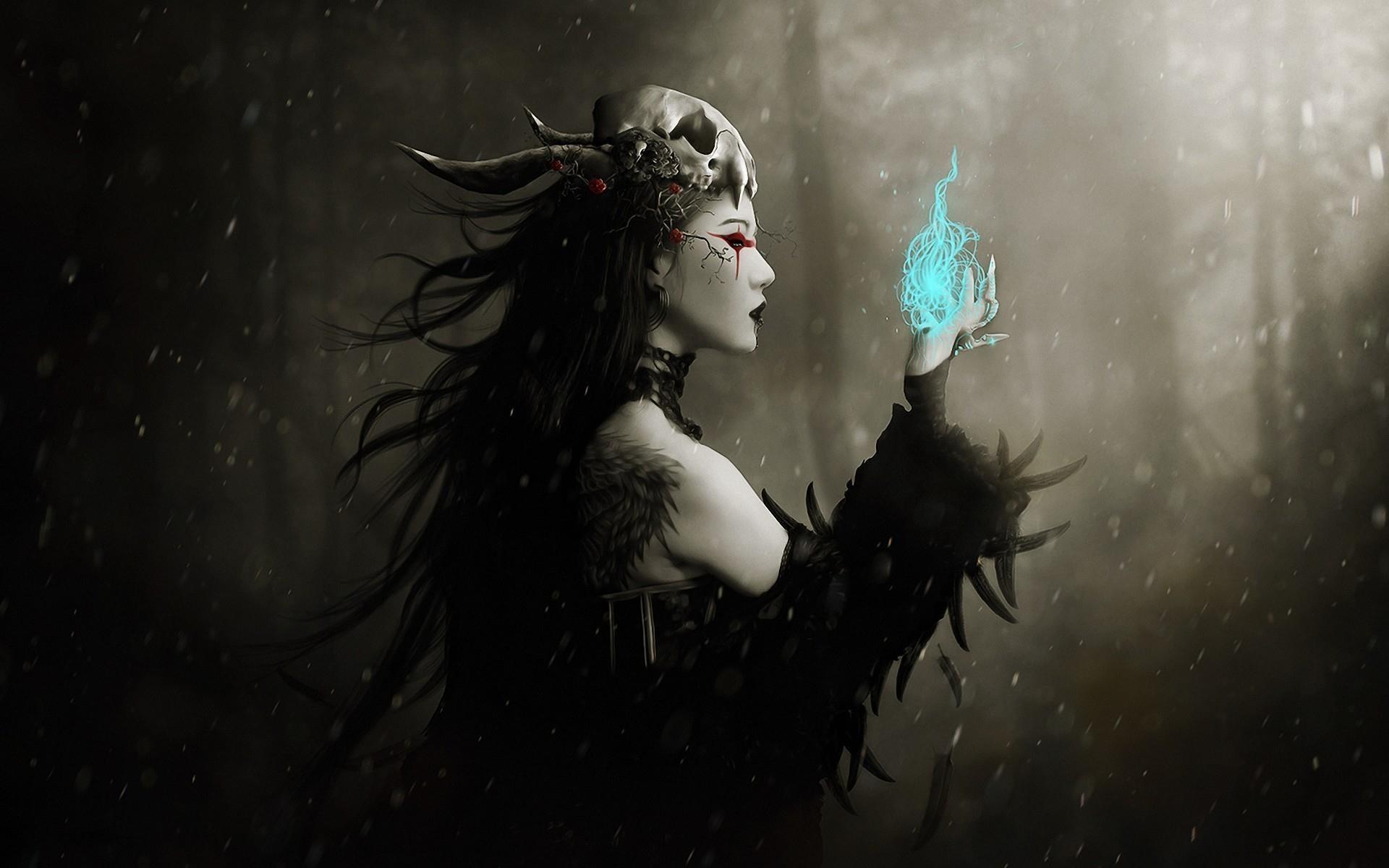 General 1920x1200 magic fantasy art fantasy girl dark fantasy skull women dark artwork snowing pale cyan