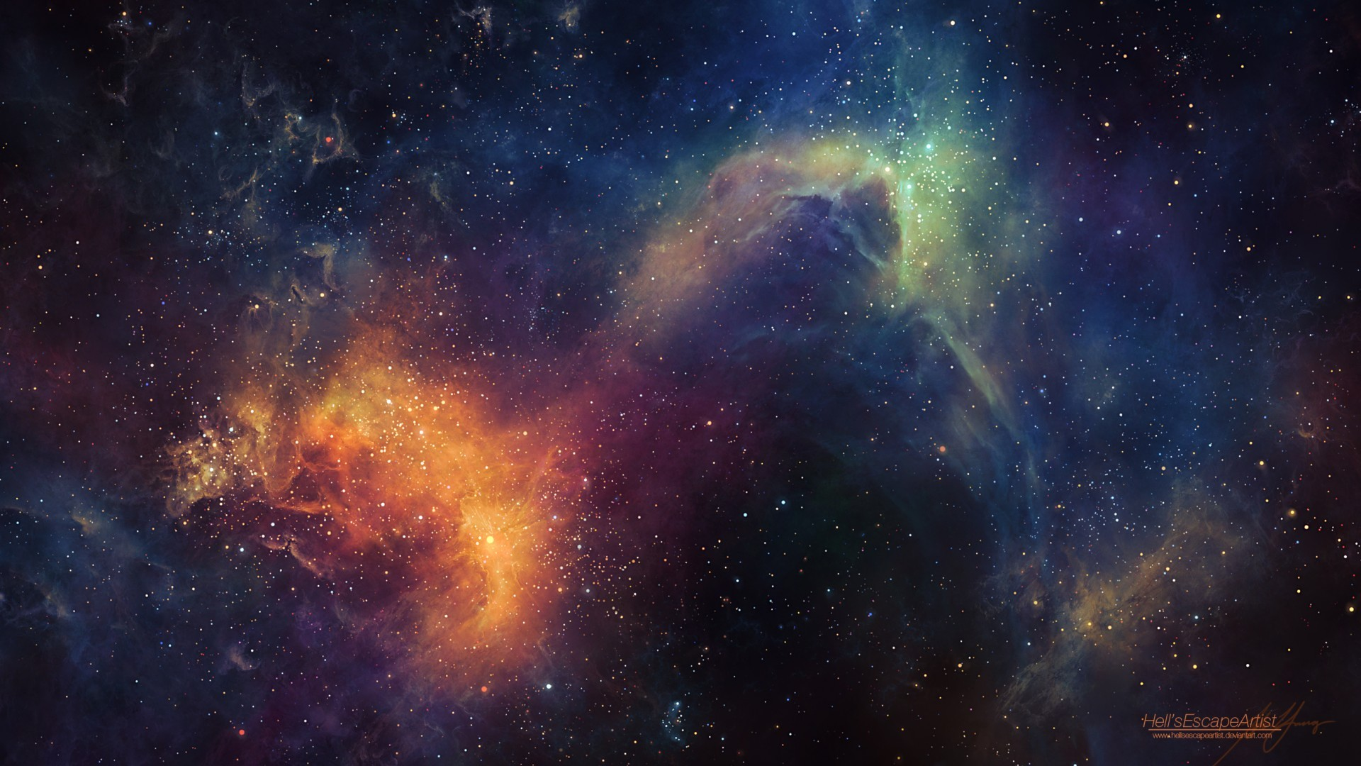 General 1920x1080 space nebula space art TylerCreatesWorlds digital art artwork stars space clouds