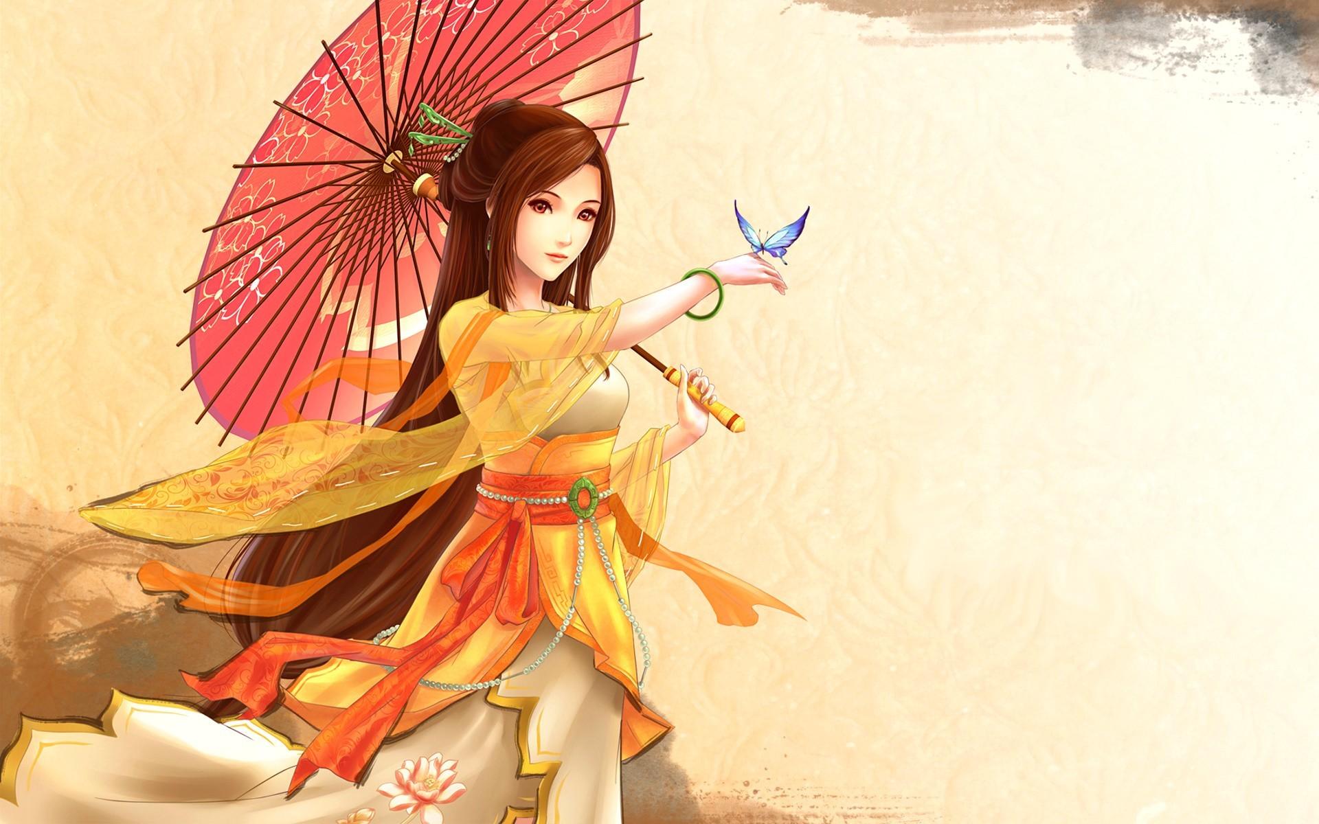 Anime 1920x1200 digital art parasol hairpin lotus flowers anime anime girls fantasy art fantasy girl umbrella animals insect butterfly redhead long hair dress yellow dress simple background
