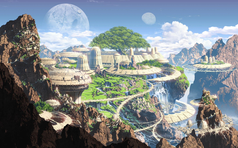General 2880x1800 artwork fantasy art mountains old building Moon futuristic