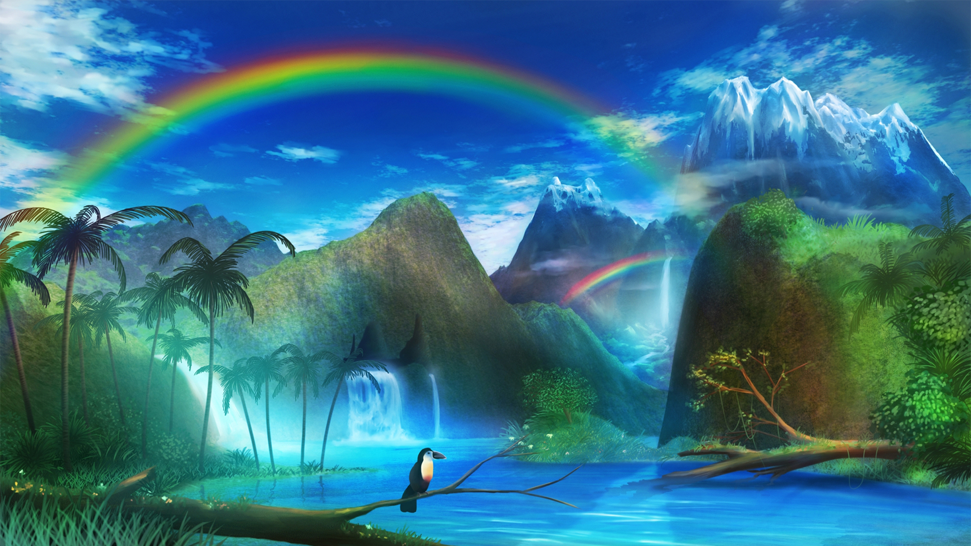 Anime 1920x1080 anime fantasy art colorful rainbows landscape birds